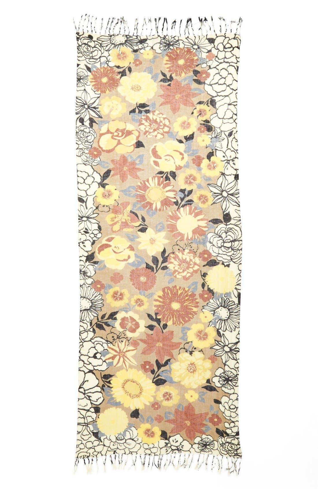 Alternate Image 2  - Halogen® 'Garden Party' Linen Blend Scarf