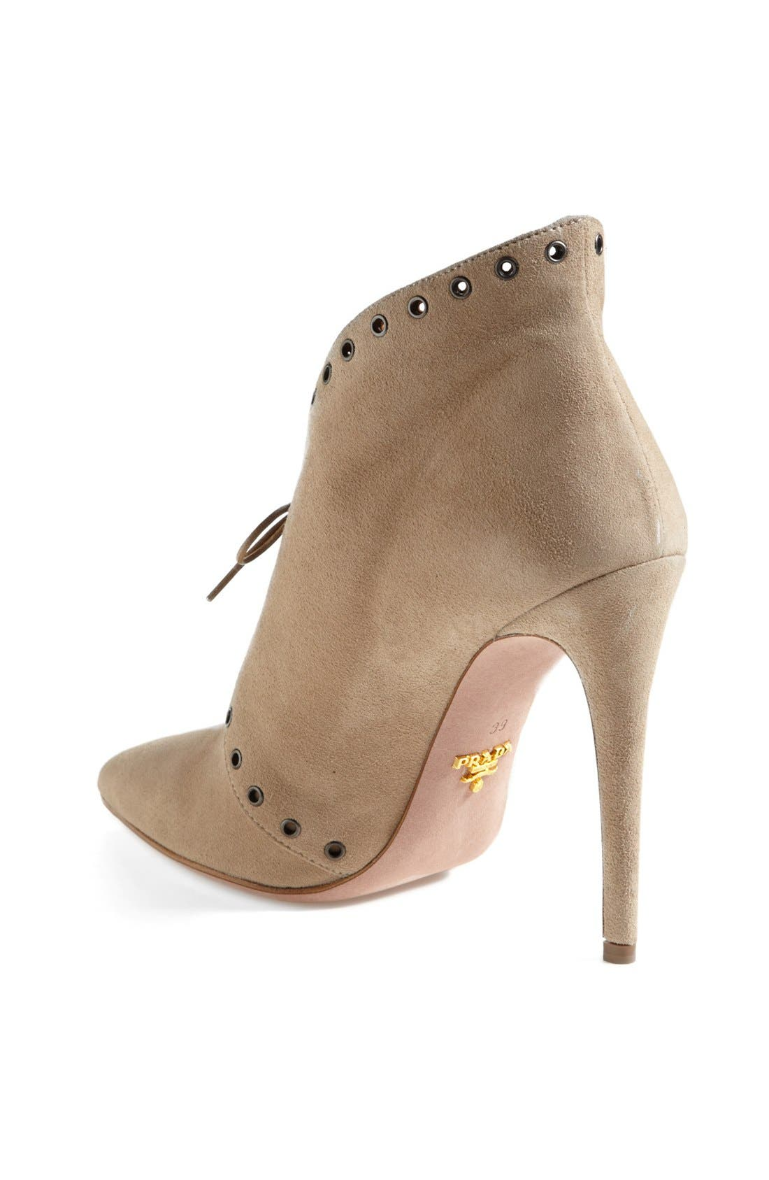 Alternate Image 2  - Prada Pointed Toe Lace Front Bootie