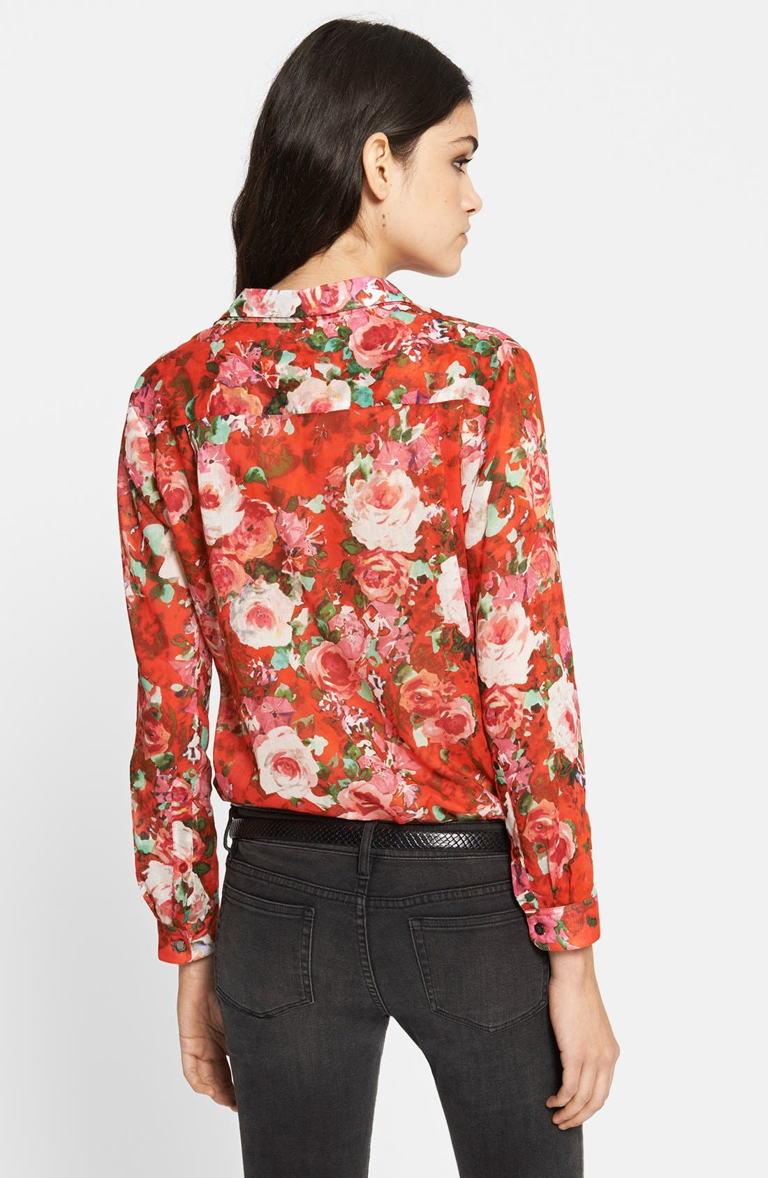 Alternate Image 2  - The Kooples Floral Print Cotton Blouse