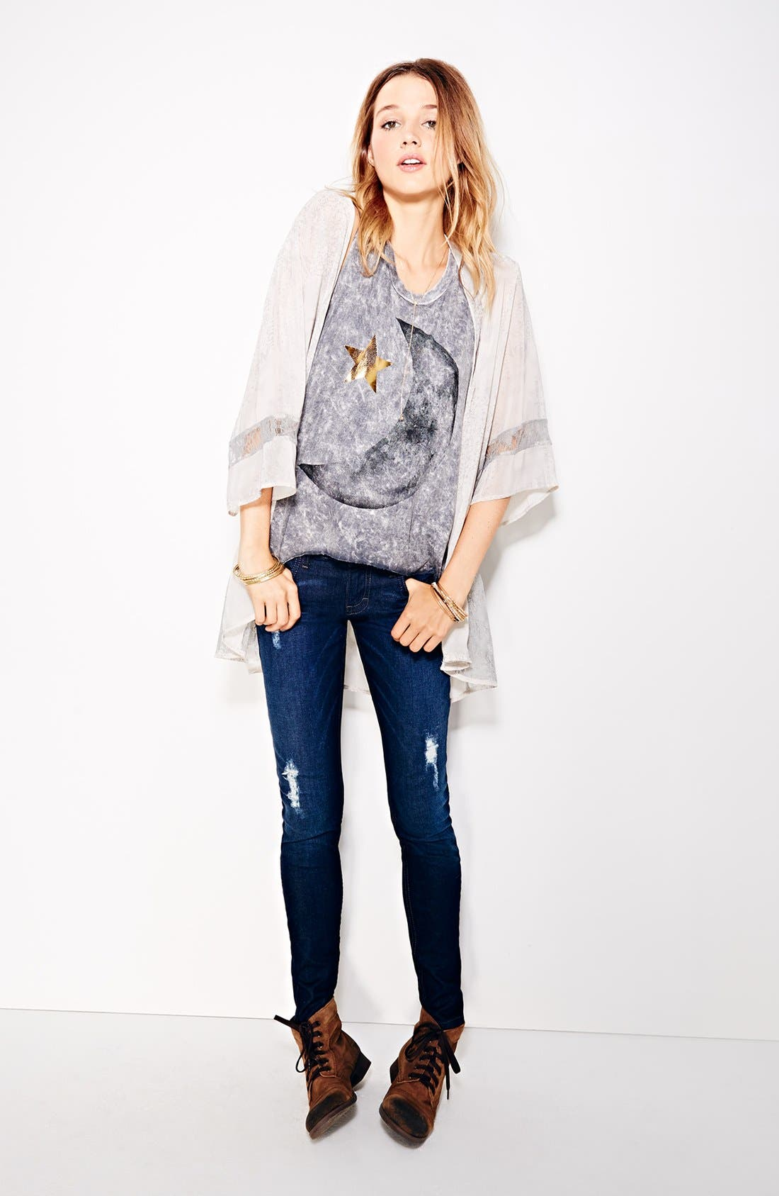 Alternate Image 4  - STS Blue Destroyed Skinny Jeans (Dark) (Juniors)