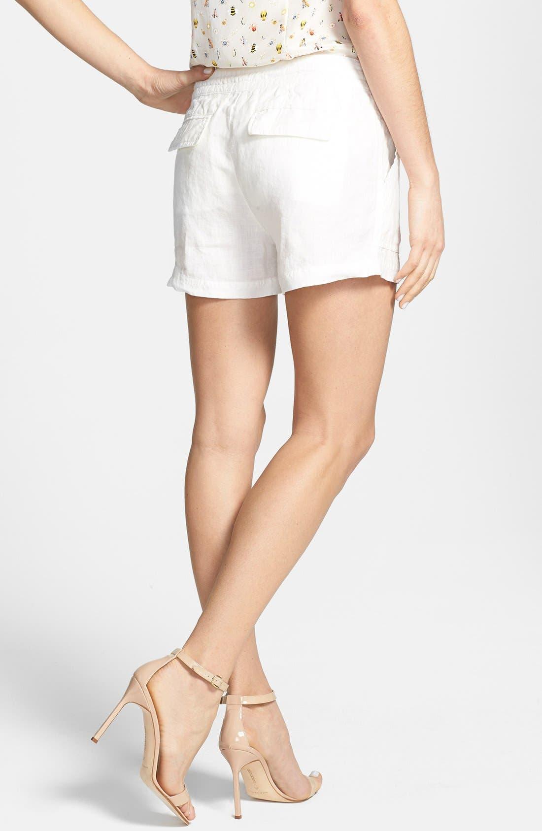 'Treyla' Drawstring Linen Shorts,                             Alternate thumbnail 2, color,                             Porcelain