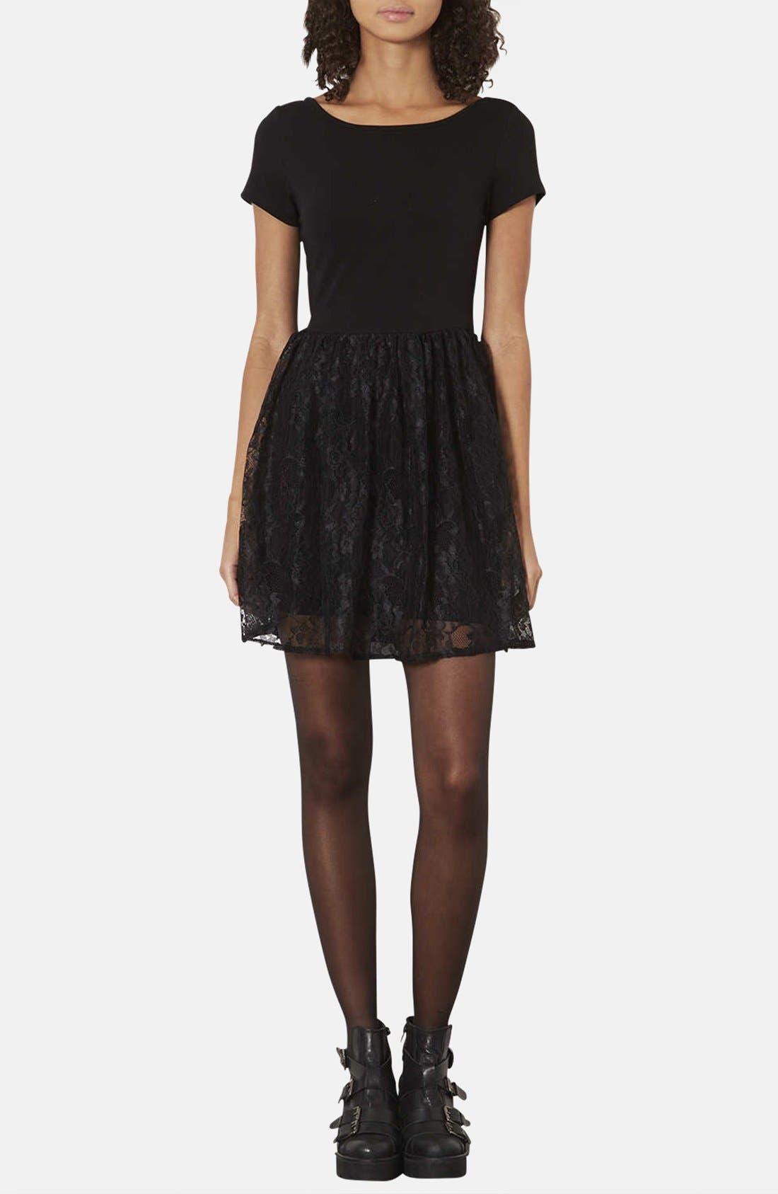 Alternate Image 1 Selected - Topshop Lace & Jersey Skater Dress