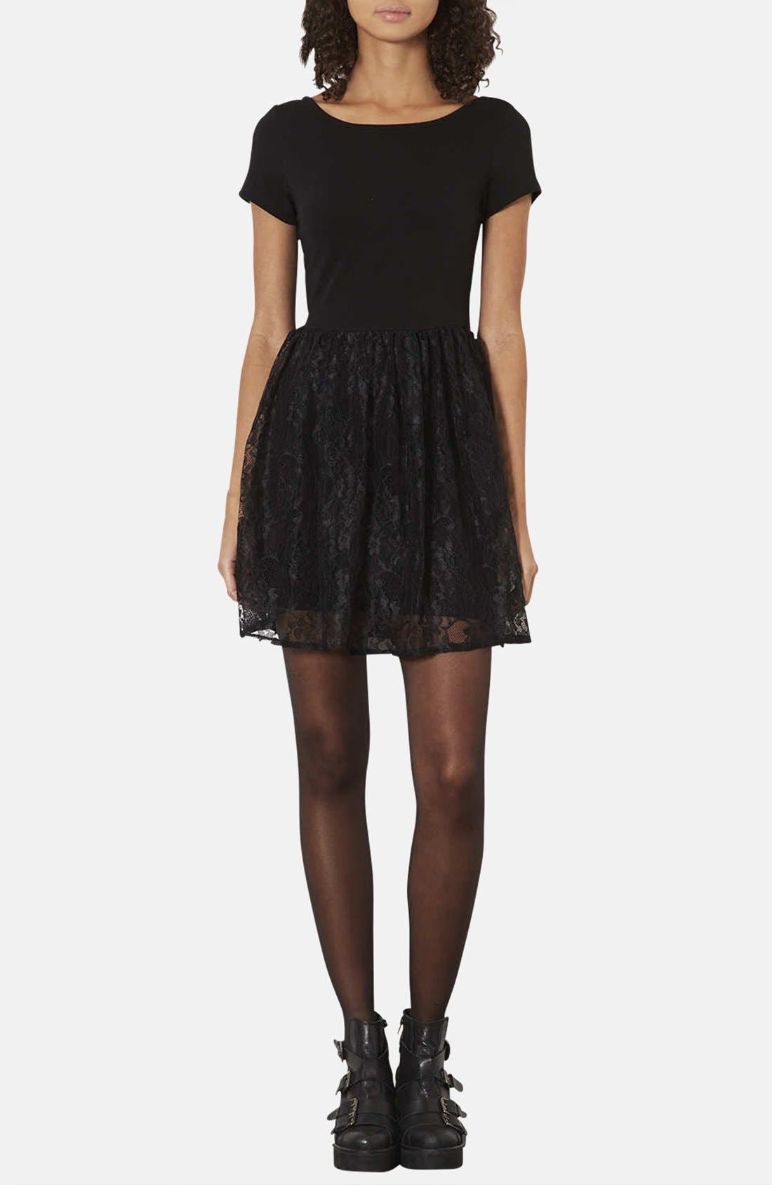 Main Image - Topshop Lace & Jersey Skater Dress