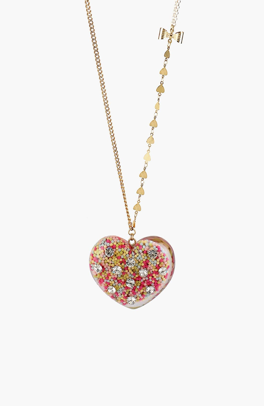 Main Image - Betsey Johnson 'Vintage Bow' Long Heart Pendant Necklace