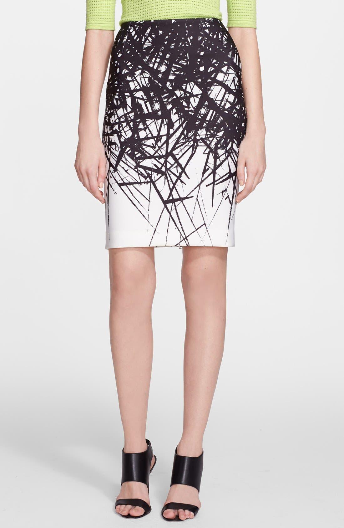 Alternate Image 1 Selected - Yigal Azrouël Branch Print Scuba Skirt