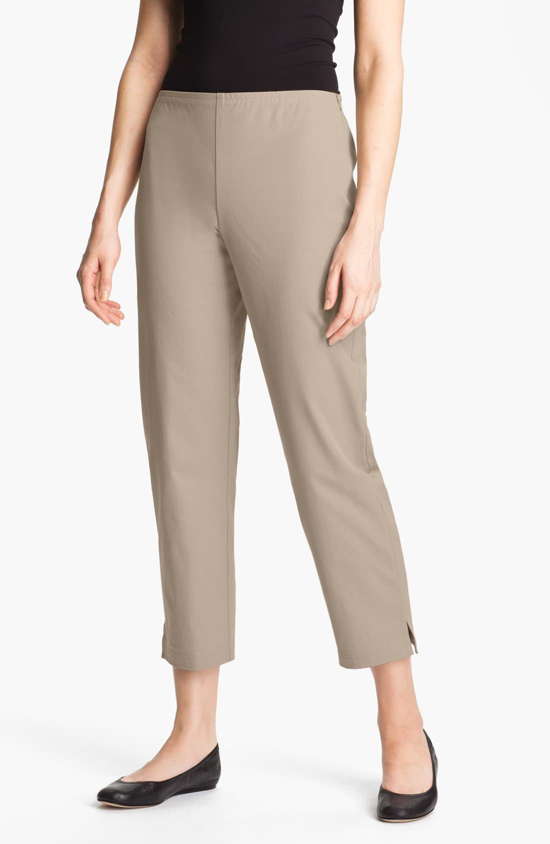Organic Stretch Cotton Twill Ankle Pants,                         Main,                         color, Stone