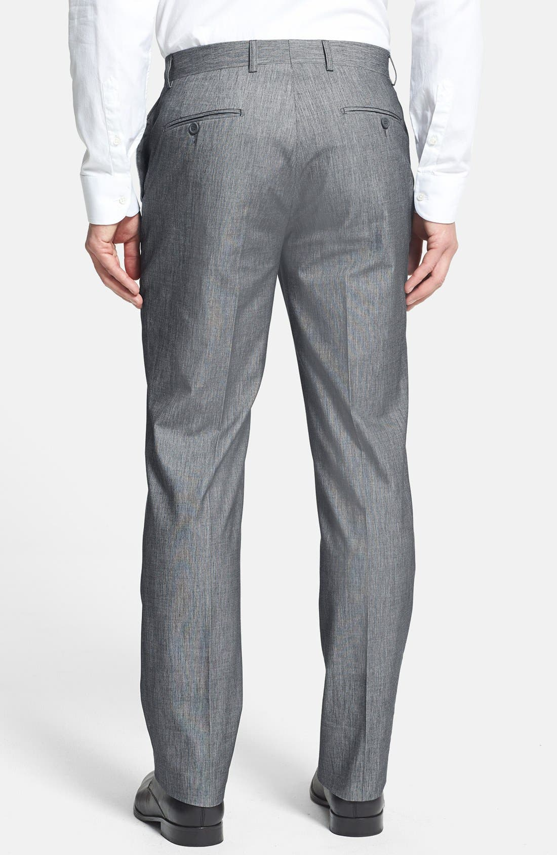 Alternate Image 2  - Linea Naturale Trim Fit Flat Front Cotton Trousers (Nordstrom Exclusive)