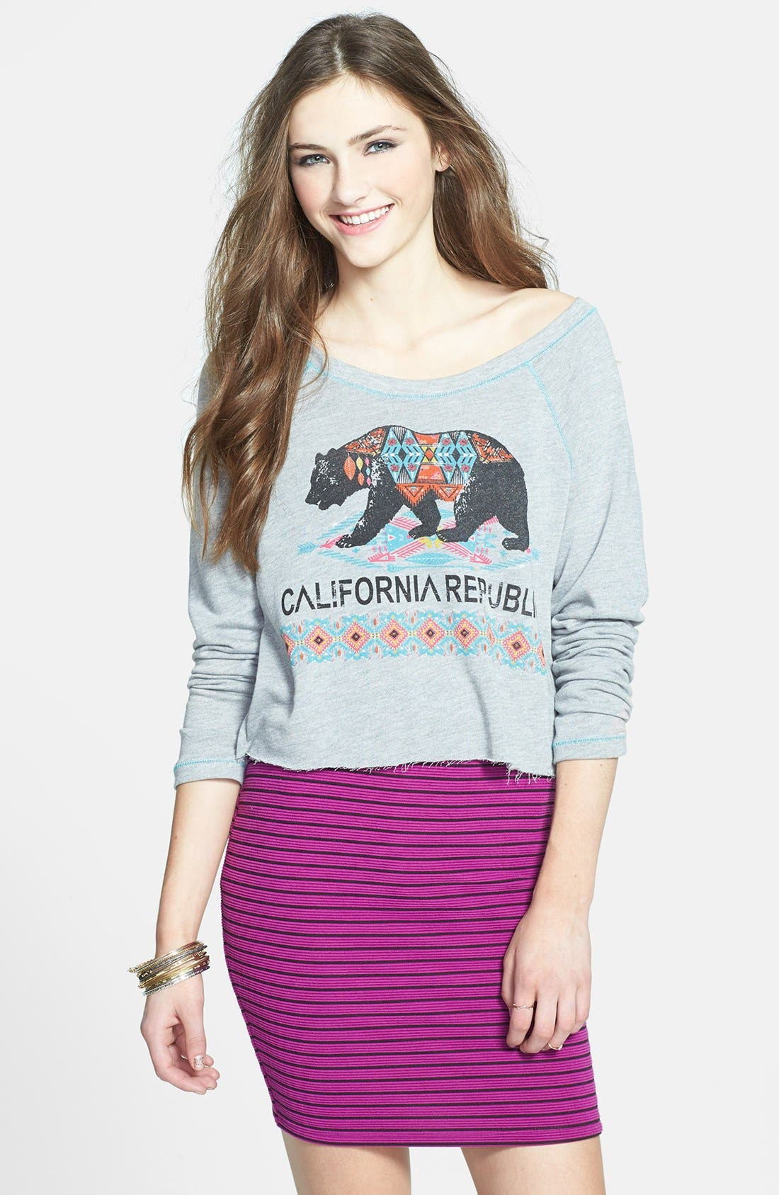 Main Image - Project Social T 'CA Bear' Sweatshirt (Juniors)
