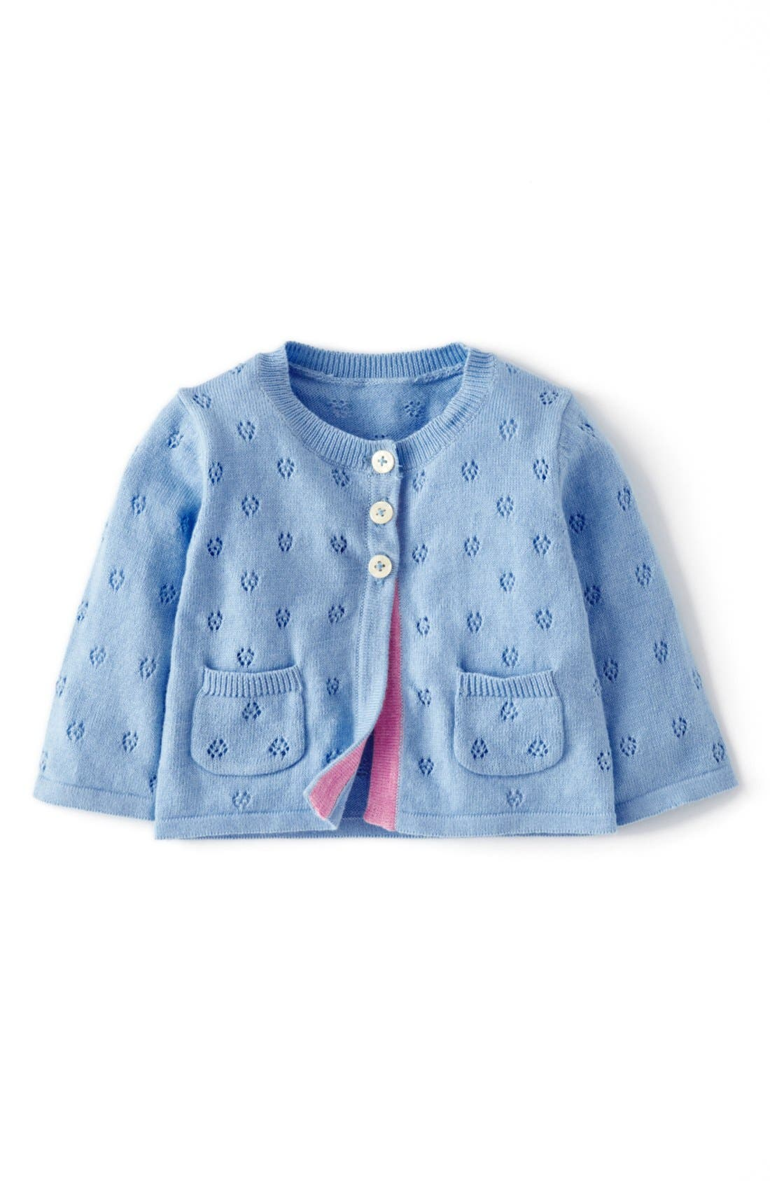 Alternate Image 1 Selected - Mini Boden Pointelle Cardigan (Baby Girls)