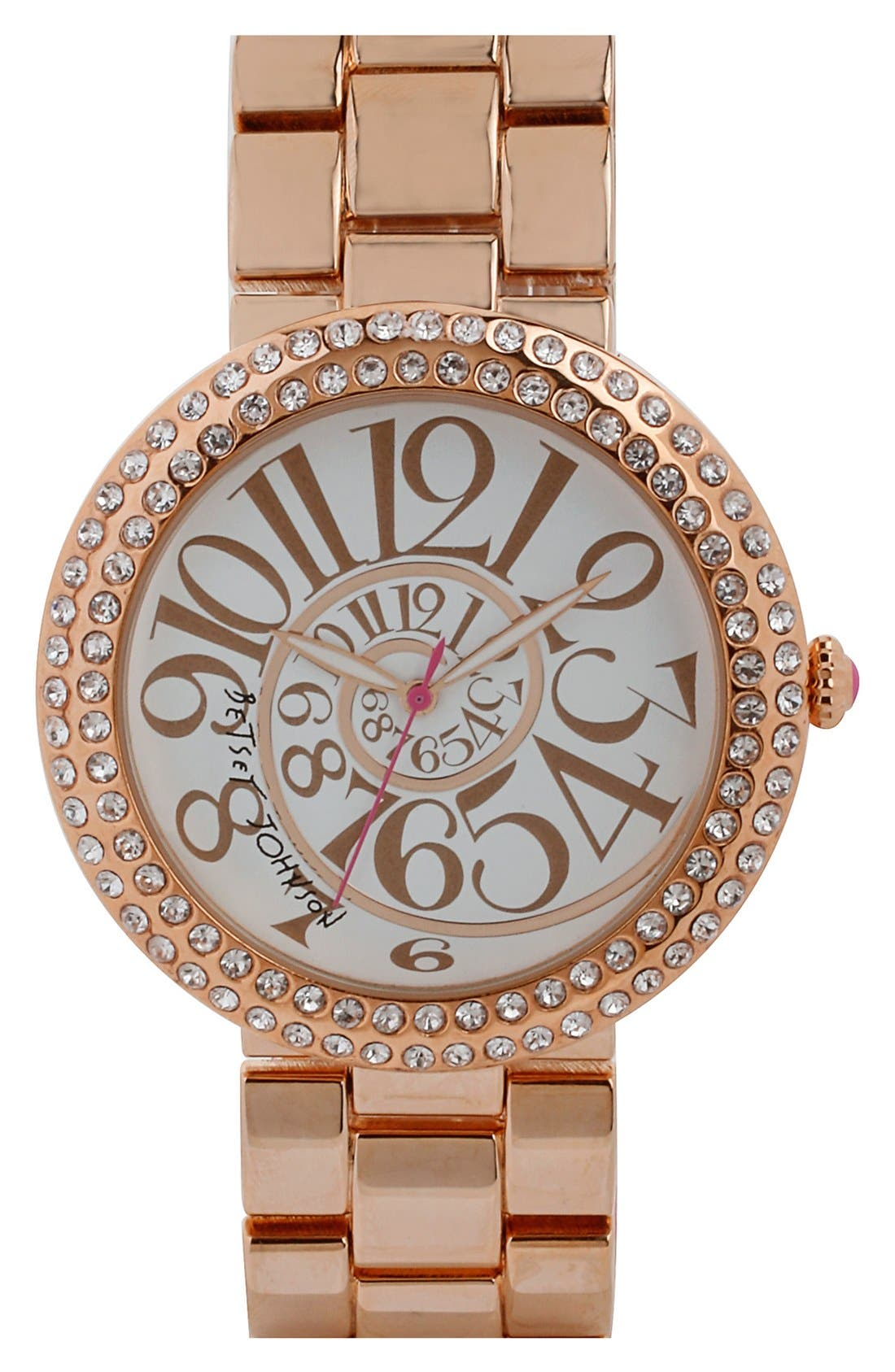Main Image - Betsey Johnson Crystal Bezel Swirl Dial Bracelet Watch, 48mm