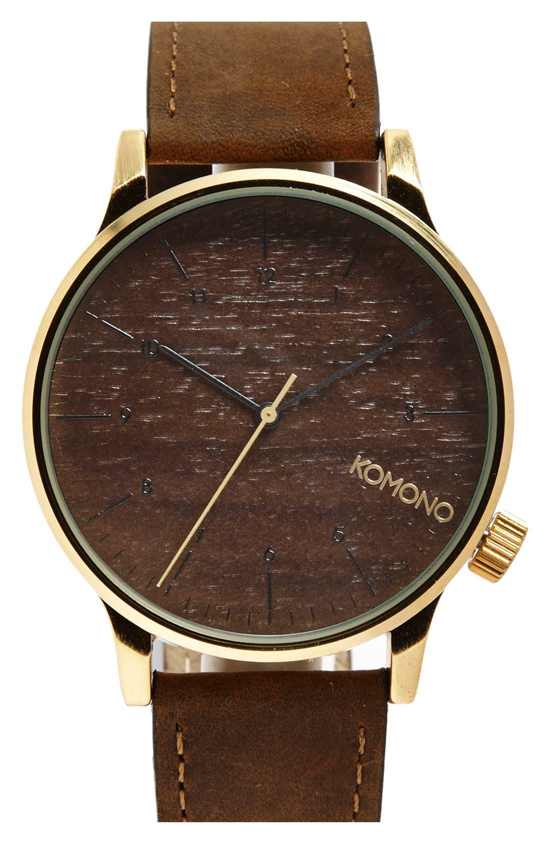 Main Image - Komono 'Winston' Round Leather Strap Watch, 41mm