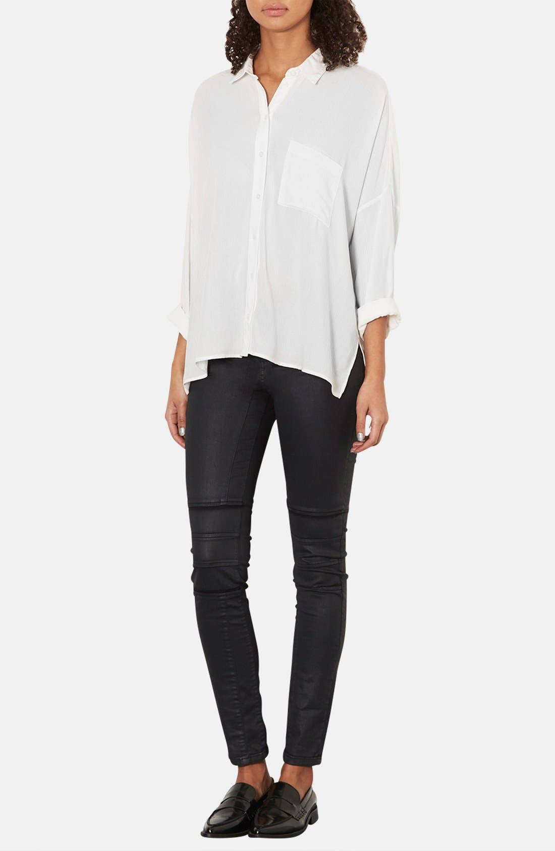 Alternate Image 4  - Topshop Oversized Crinkle Shirt