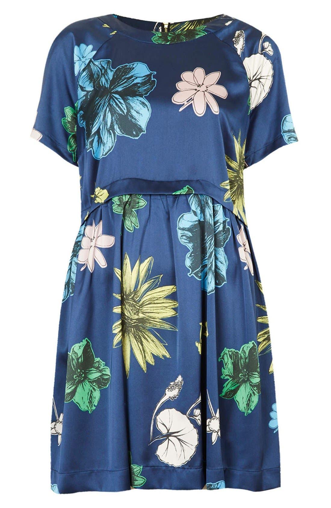 Alternate Image 3  - Topshop 'Tokyo Bud' Print Satin Smock Dress