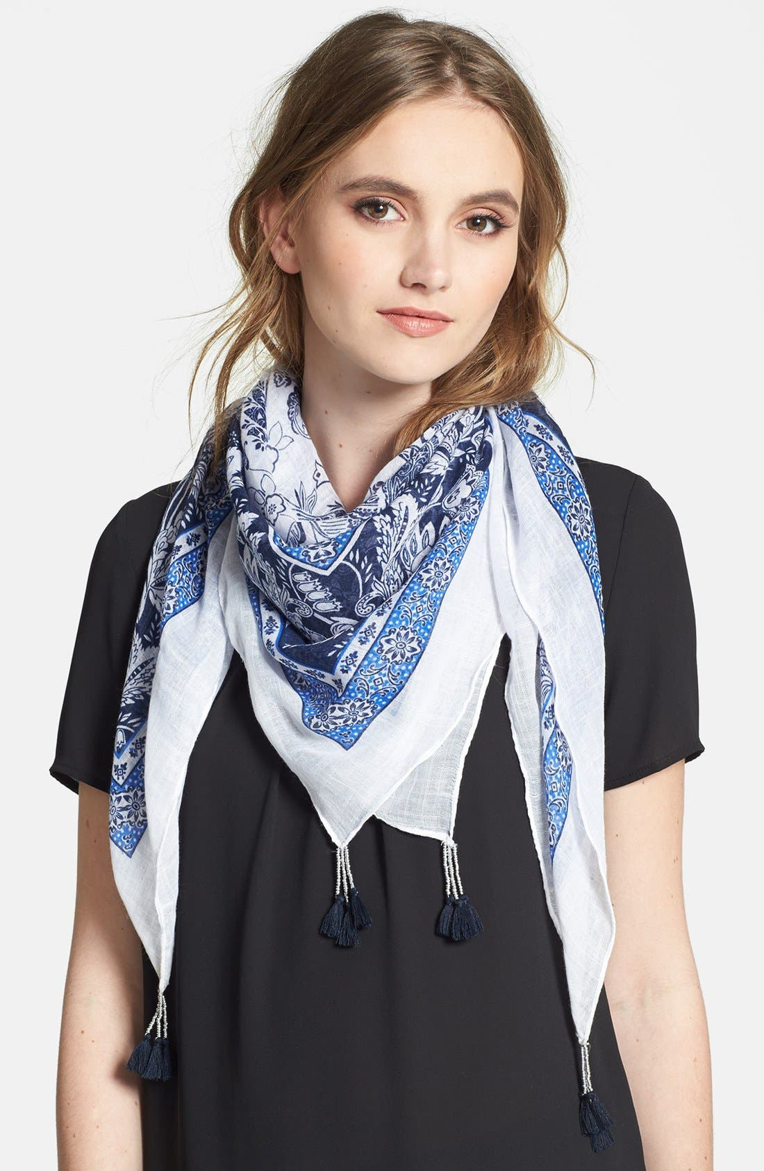 Alternate Image 1 Selected - Accessory Street Floral Pom Scarf