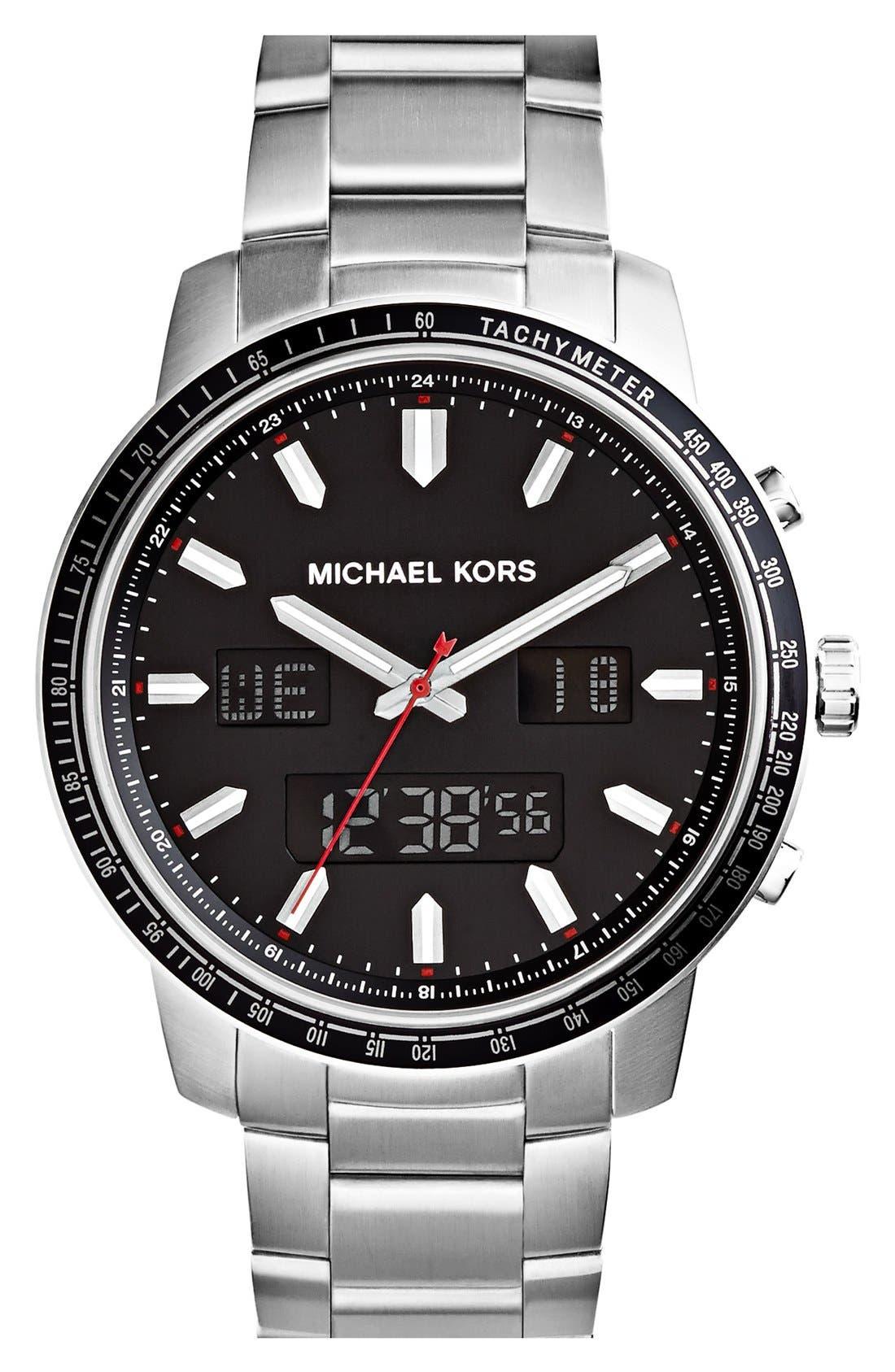 Alternate Image 1 Selected - Michael Kors 'Granger' Ana-Digi Bracelet Watch, 45mm
