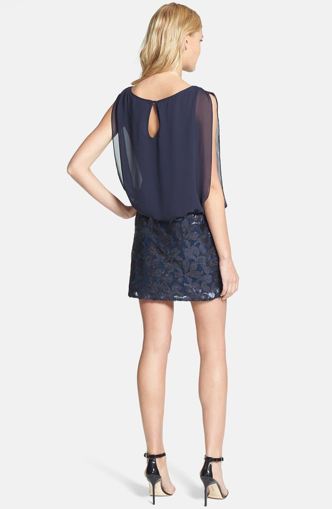 Alternate Image 2  - Aidan by Aidan Mattox Embroidered Lace Chiffon Blouson Dress