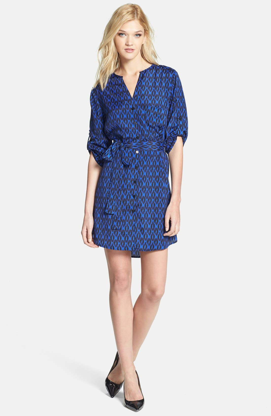 Alternate Image 2  - Collective Concepts Print Roll Sleeve Crêpe de Chine Shirtdress