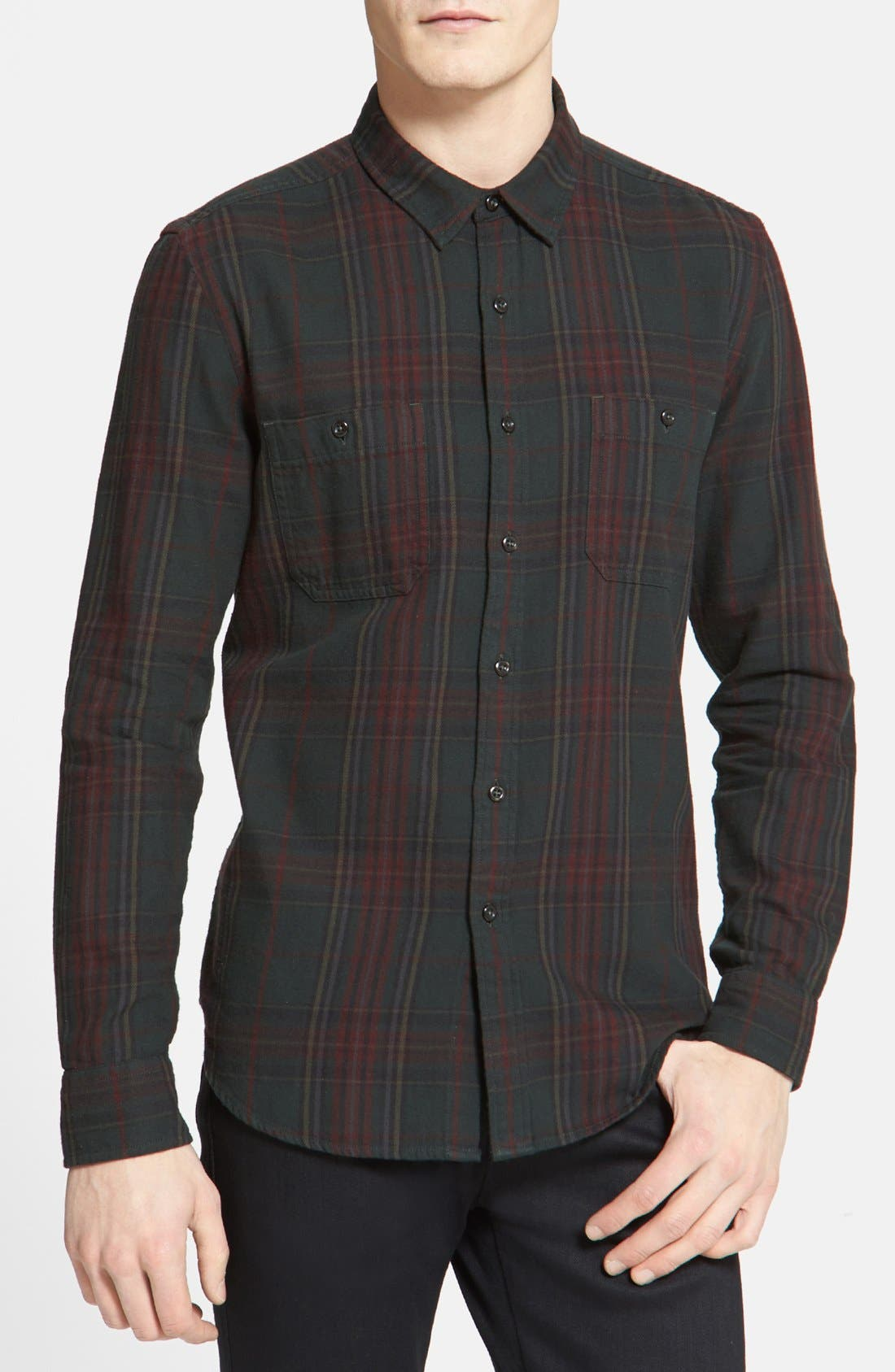 Alternate Image 1 Selected - Topman Classic Fit Tartan Plaid Flannel Shirt