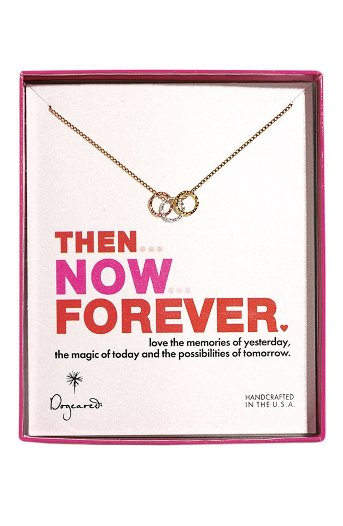 Alternate Image 4  - Dogeared 'Then, Now, Forever' Boxed 3-Ring Pendant Necklace