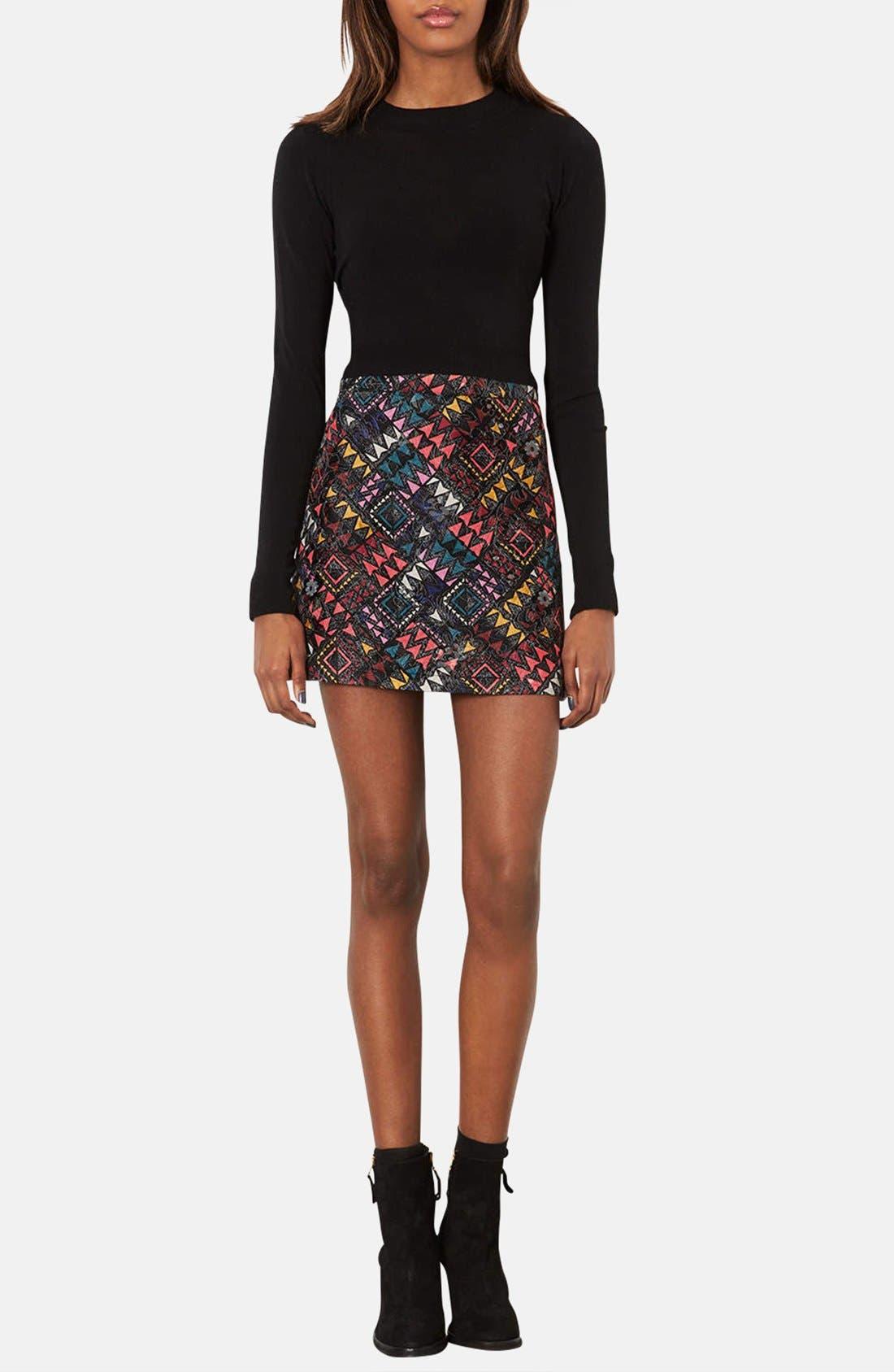 Alternate Image 4  - Topshop Geo Print Quilted Miniskirt