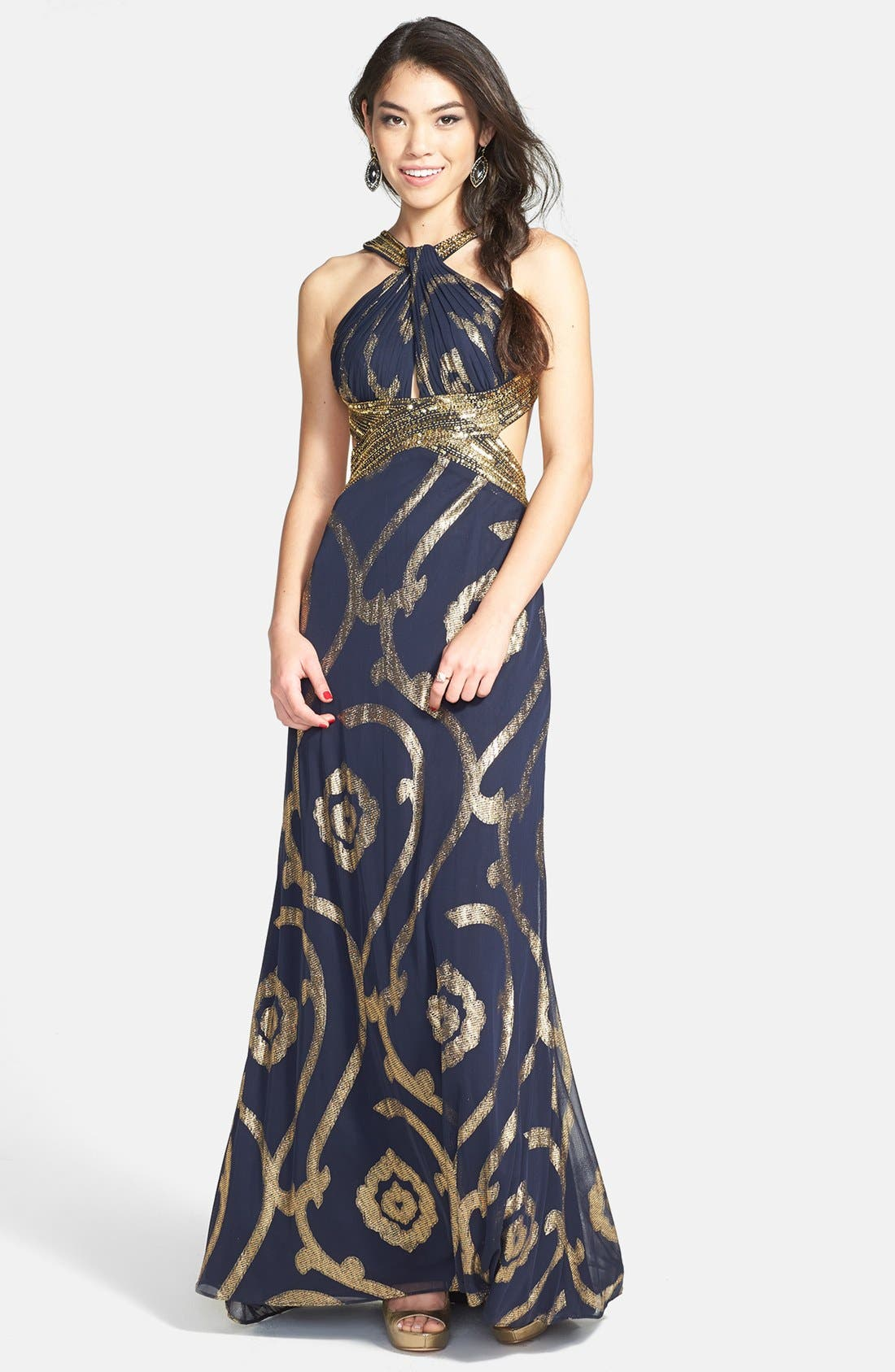 Alternate Image 1 Selected - Betsy & Adam Cutout Back Foil Pattern Gown