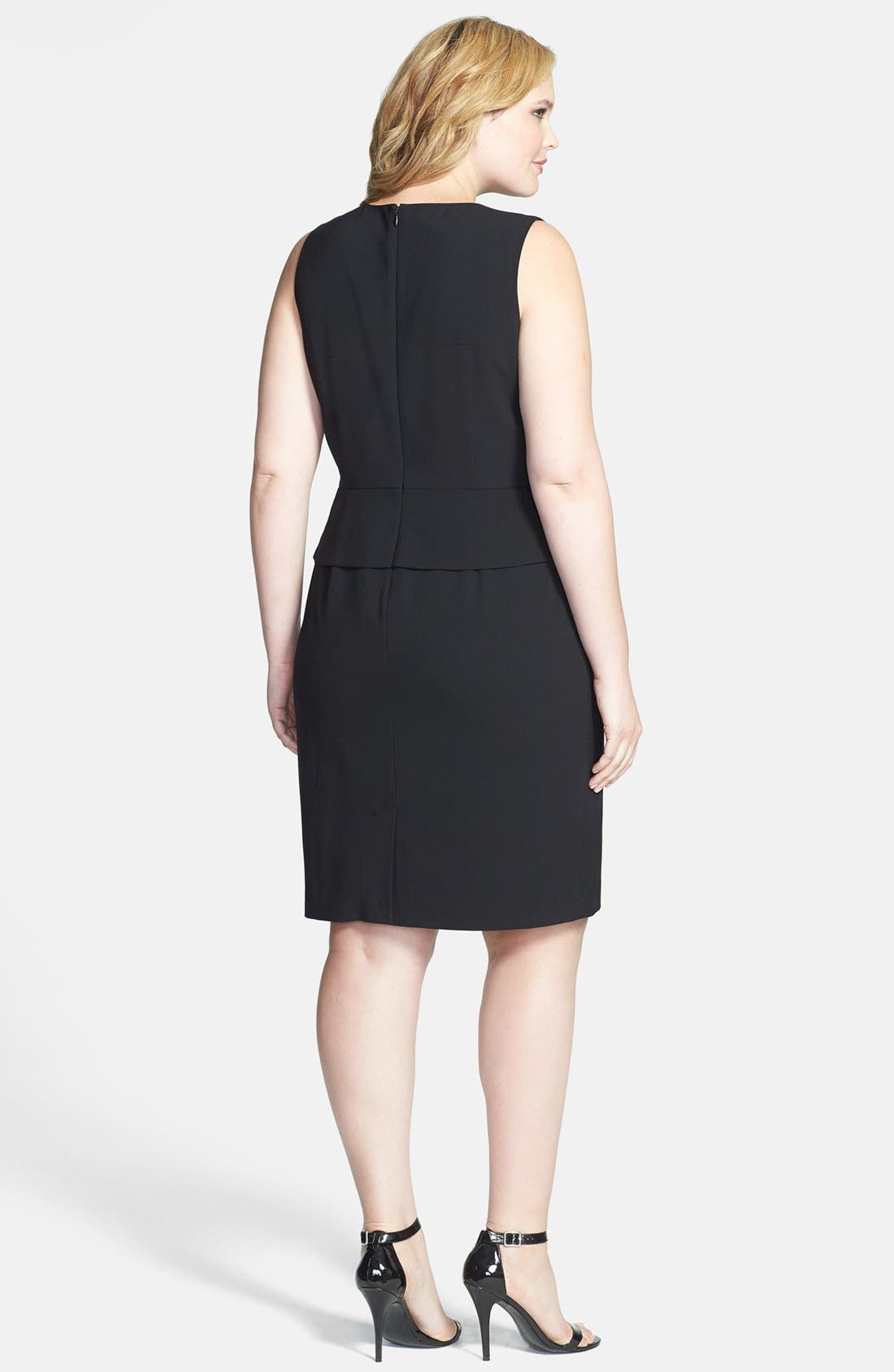 Alternate Image 2  - Calvin Klein Peplum Sheath Dress (Plus Size)