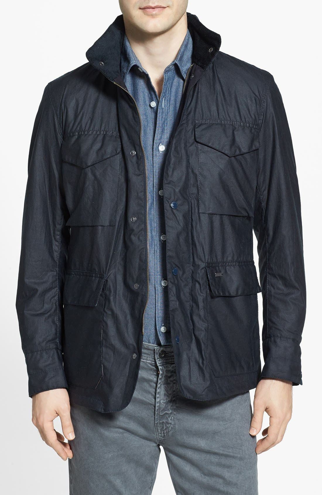 Alternate Image 1 Selected - Barbour 'Sapper' Tailored Fit Weatherproof Waxed Jacket