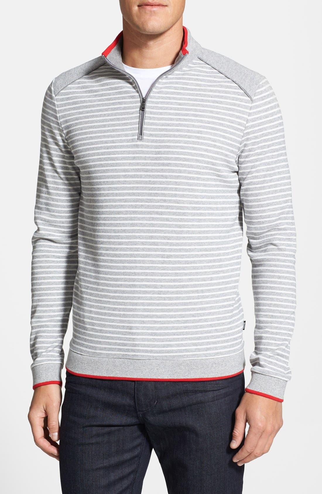 Alternate Image 1 Selected - BOSS HUGO BOSS 'Vittorito' Quarter Zip Stripe Pullover