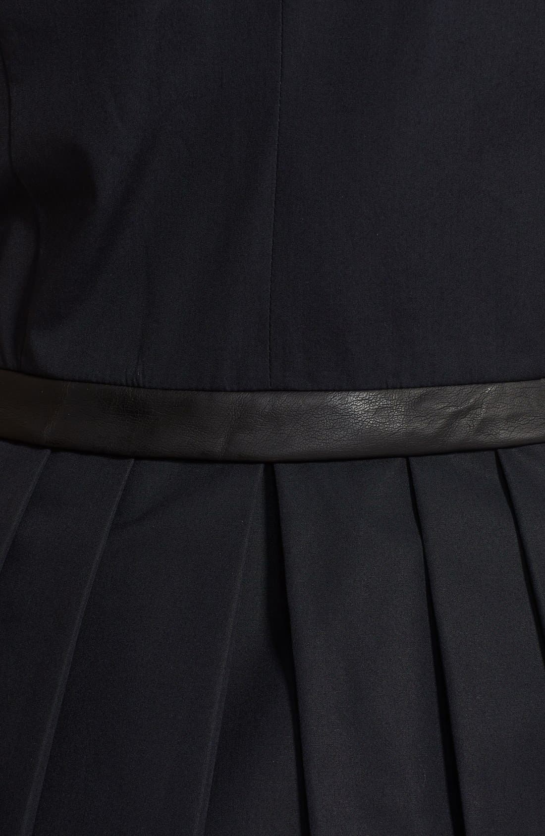 Alternate Image 3  - Band of Outsiders Leather Trim Poplin Dress
