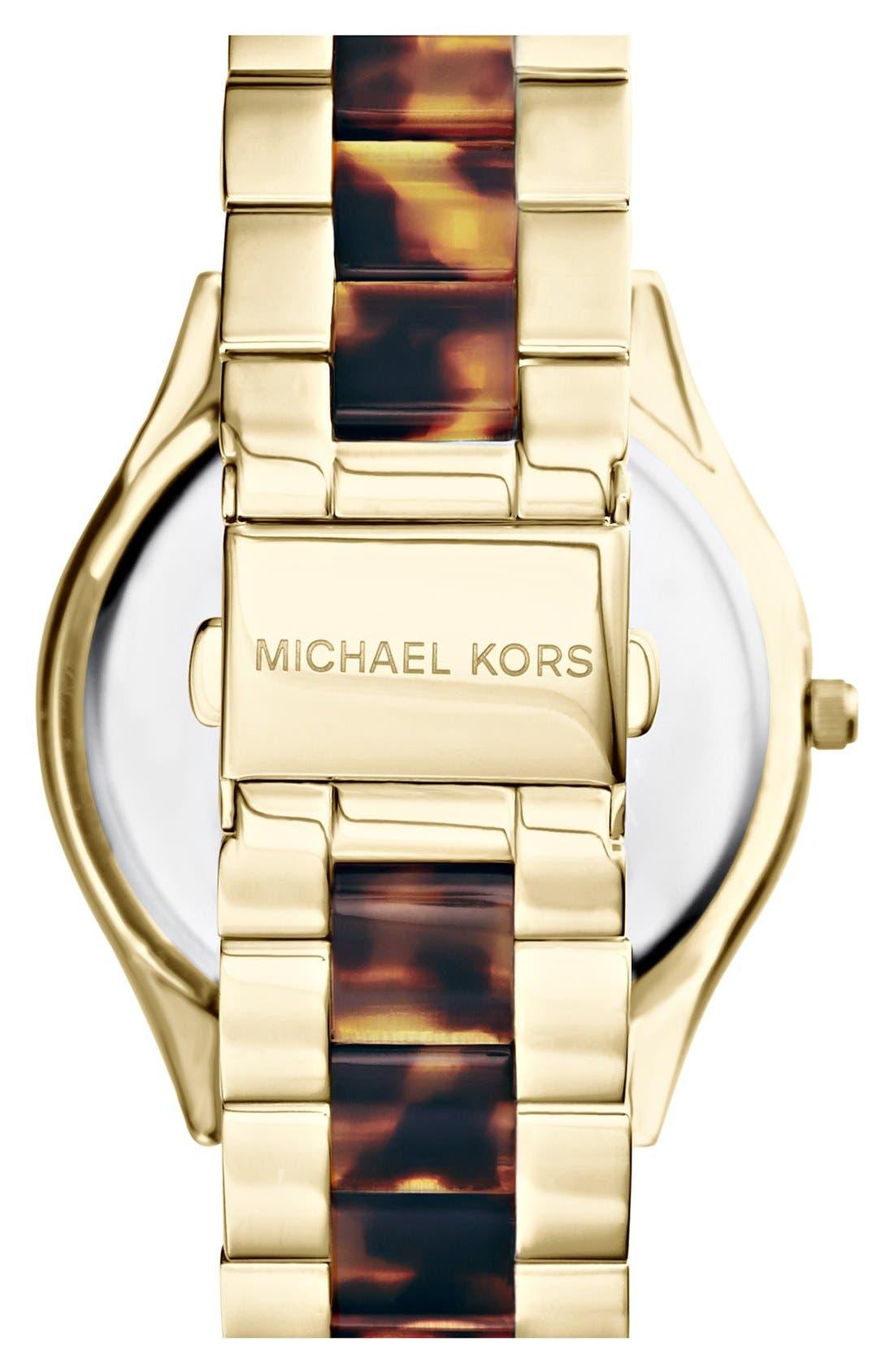 Michael Kors 'Slim Runway' Round Bracelet Watch, 42mm,                             Alternate thumbnail 2, color,                             Tortoise/ Gold