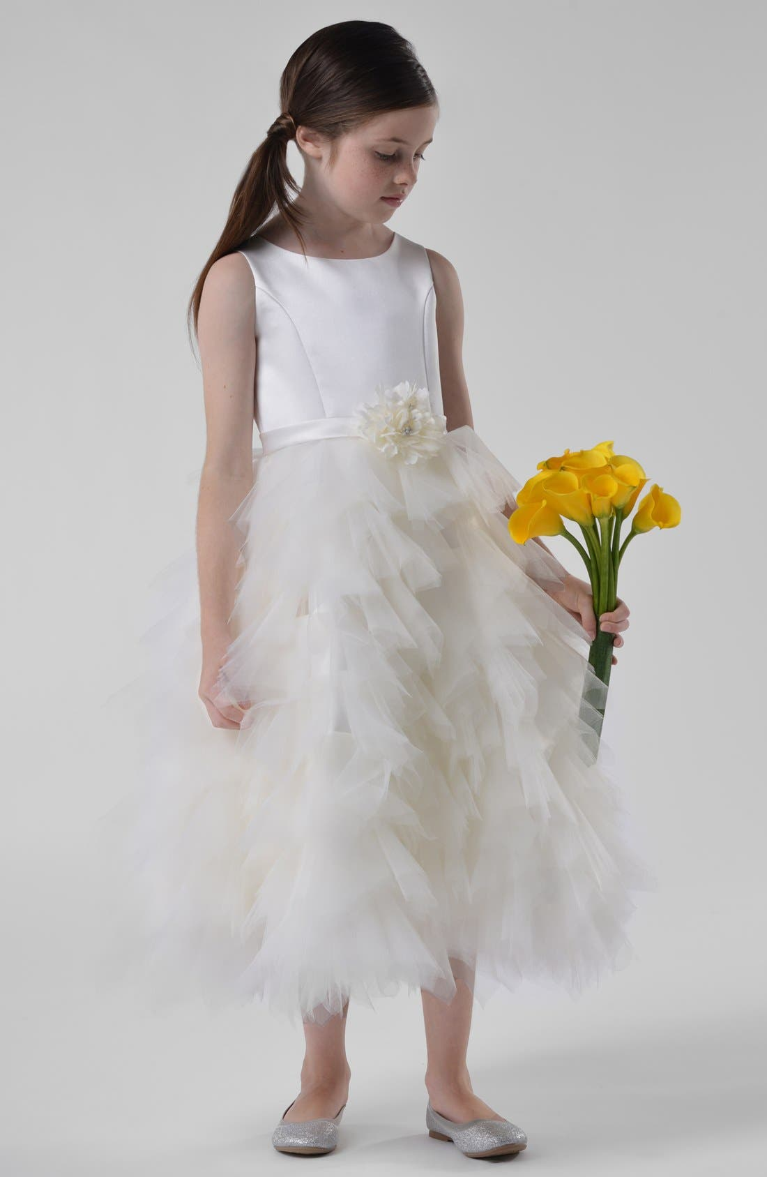 Alternate Image 4  - Us Angels Satin & Tulle Dress (Toddler Girls, Little Girls & Big Girls)