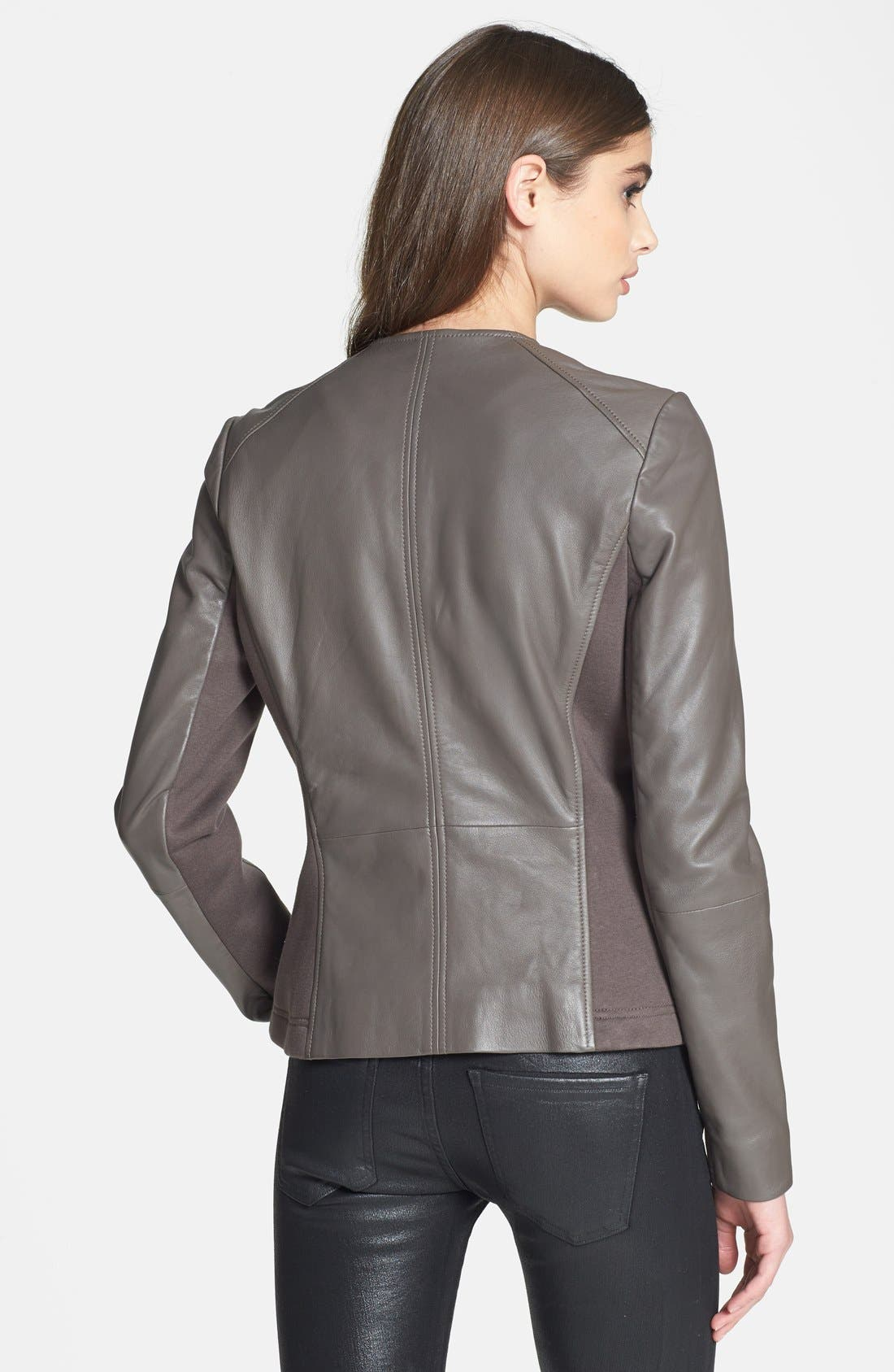 Alternate Image 2  - Trouvé Collarless Leather Jacket
