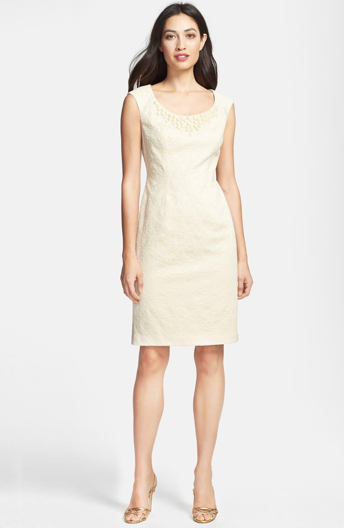 Alternate Image 3  - Adrianna Papell Embellished Jacquard Sheath Dress