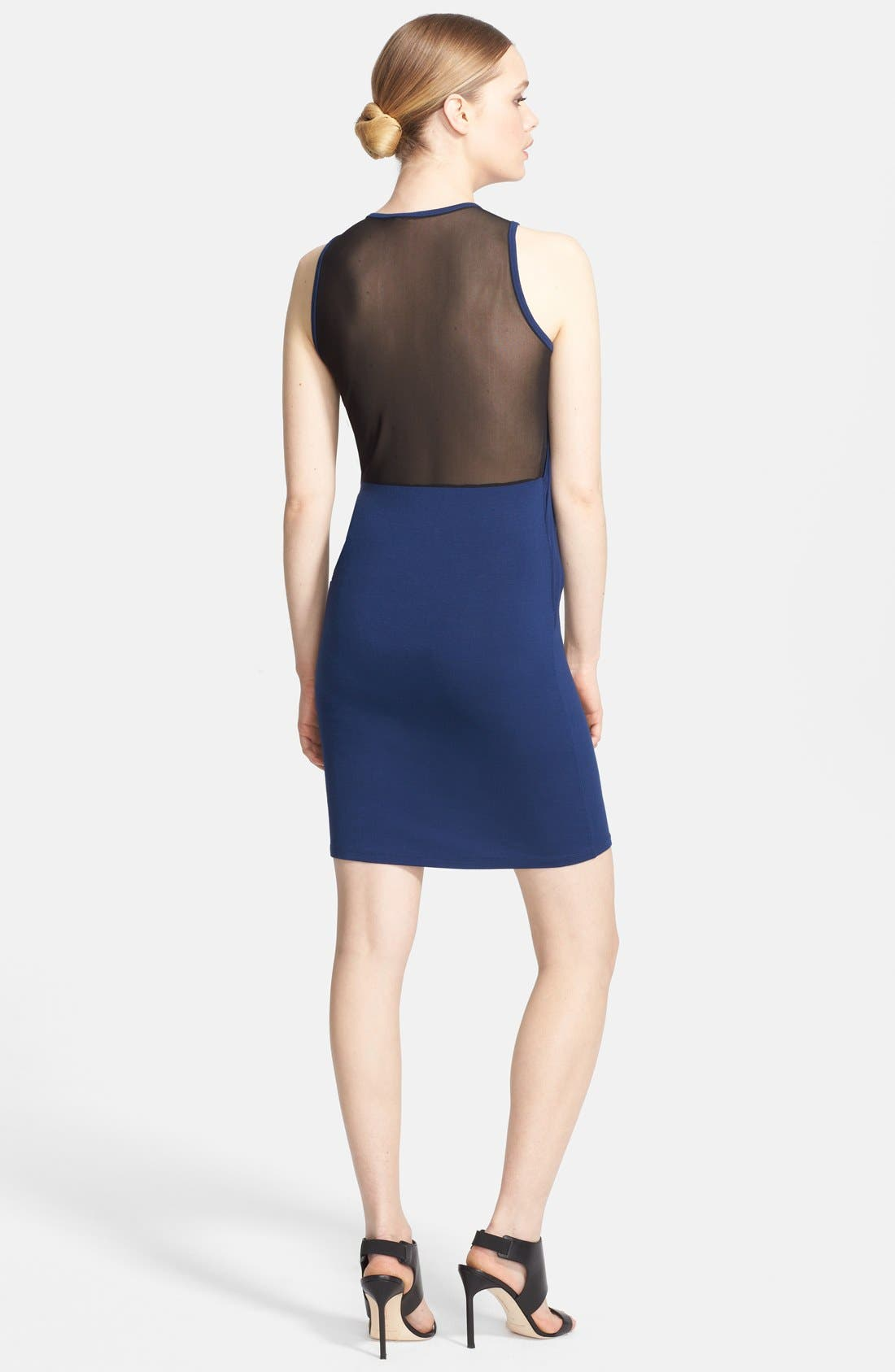 Alternate Image 2  - McQ by Alexander McQueen Mesh Inset Asymmetrical Dress