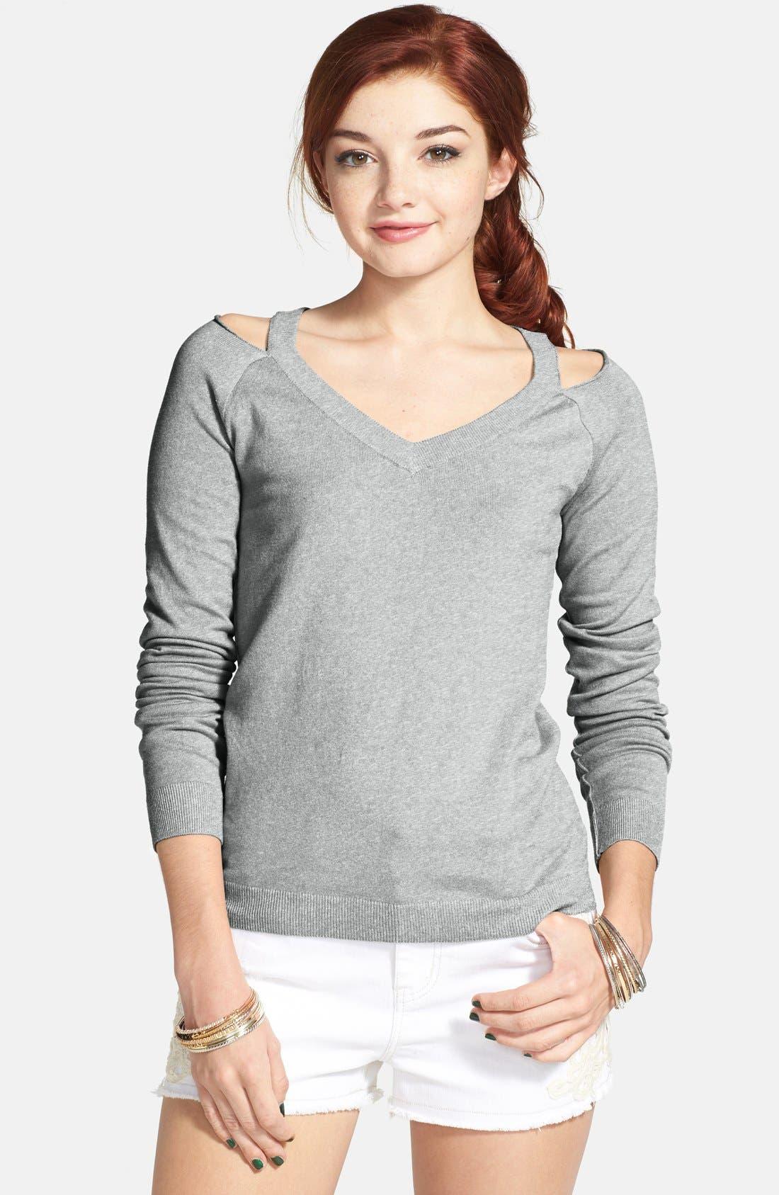 Main Image - BP. Cold Shoulder V-Neck Pullover (Juniors)