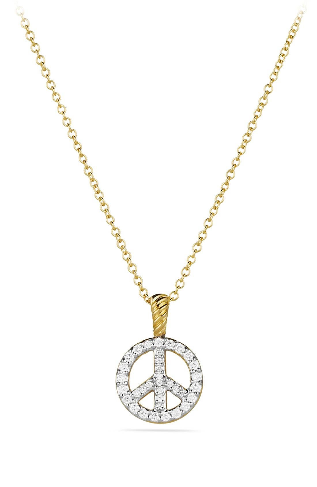 Main Image - David Yurman 'Cable Collectibles' Peace Sign Pendant with Diamonds on Chain