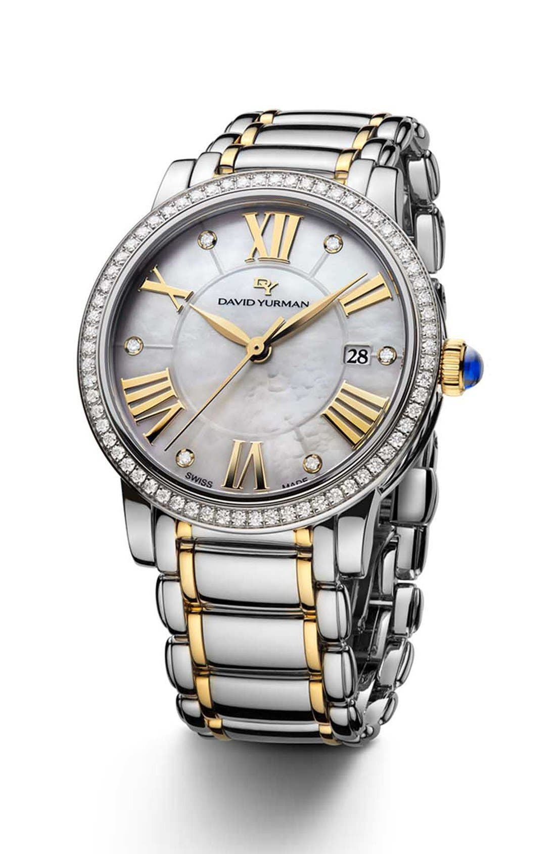 David Yurman 'Classic' 38mm Stainless Steel Quartz with Diamond Bezel and Gold
