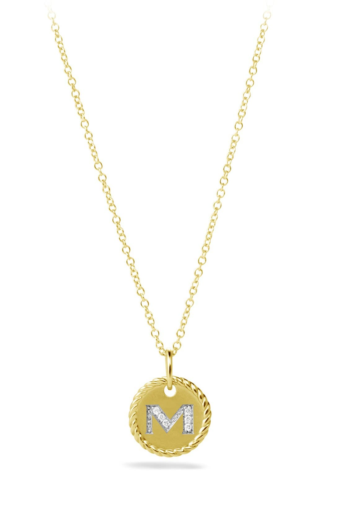 DAVID YURMAN Cable Collectibles Initial Pendant with Diamonds in Gold on Chain