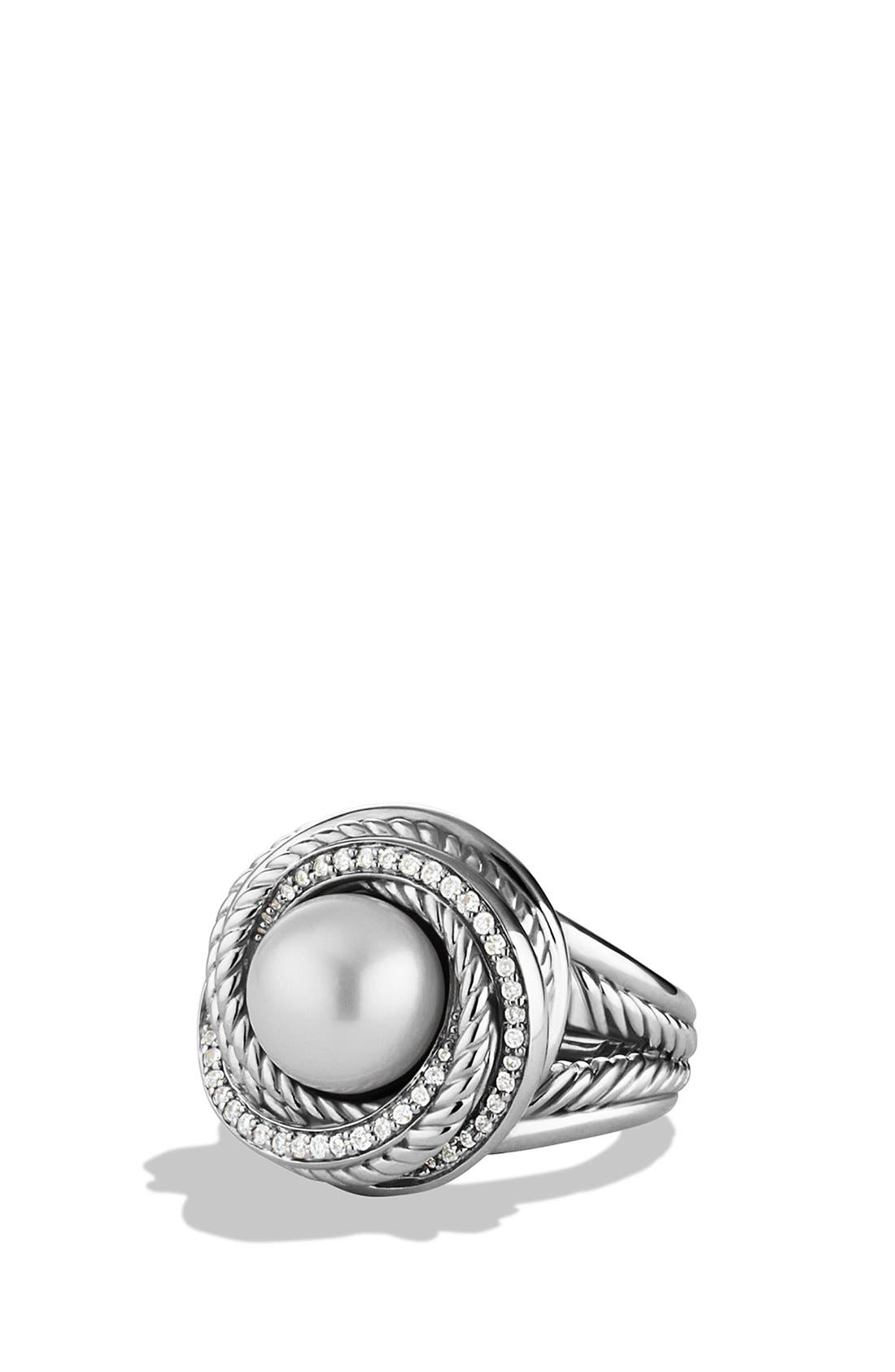 'Pearl Crossover' Ring with Diamonds,                             Main thumbnail 1, color,                             Pearl