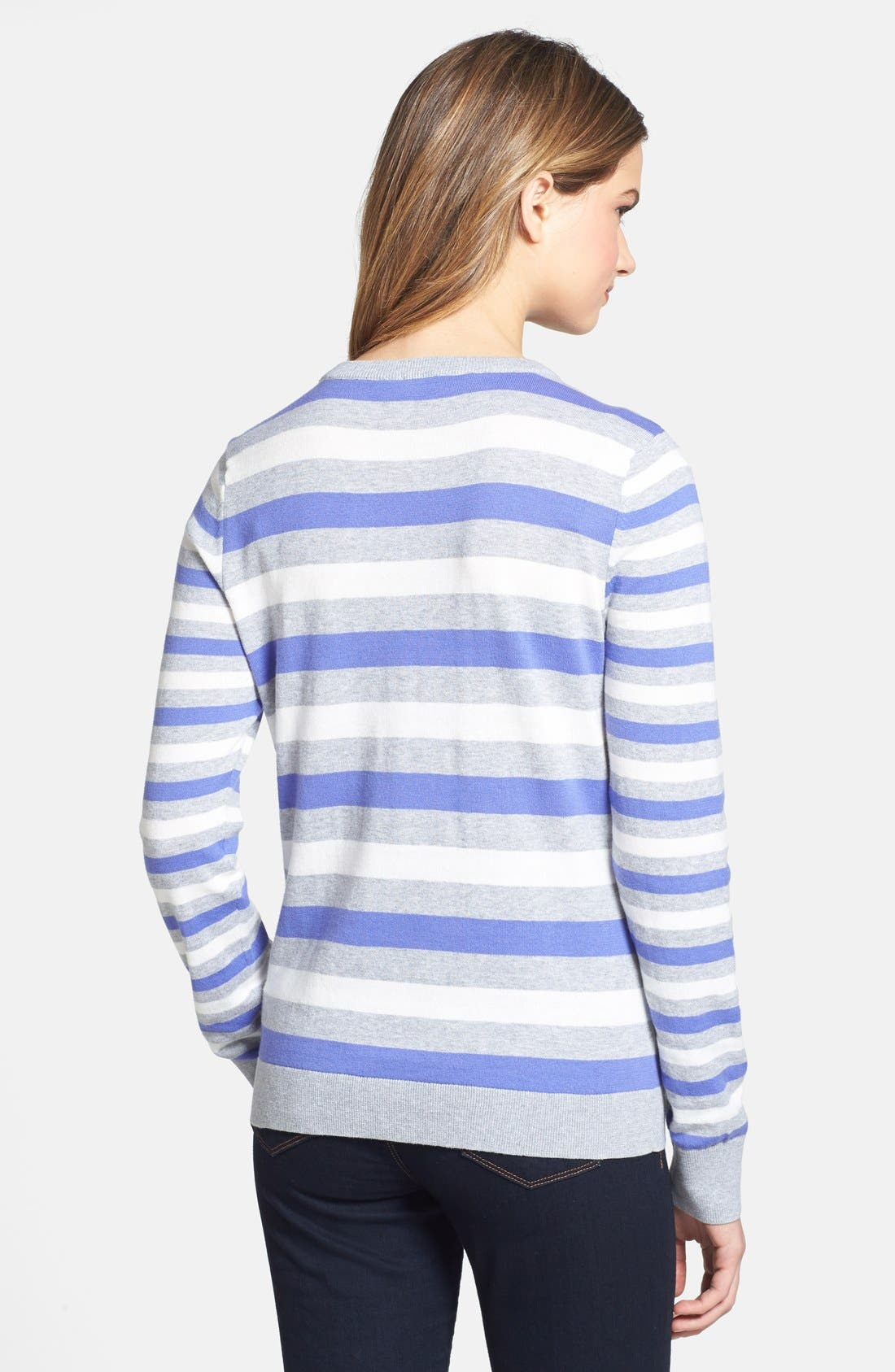 Alternate Image 2  - Vince Camuto Stripe Crewneck Sweater (Petite)