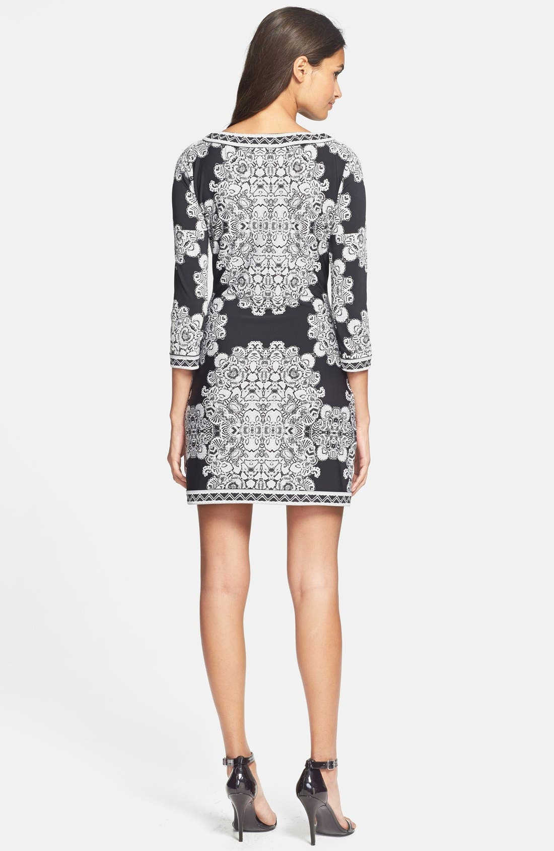 Alternate Image 2  - BCBGMAXAZRIA Placed Print Jersey Shift Dress