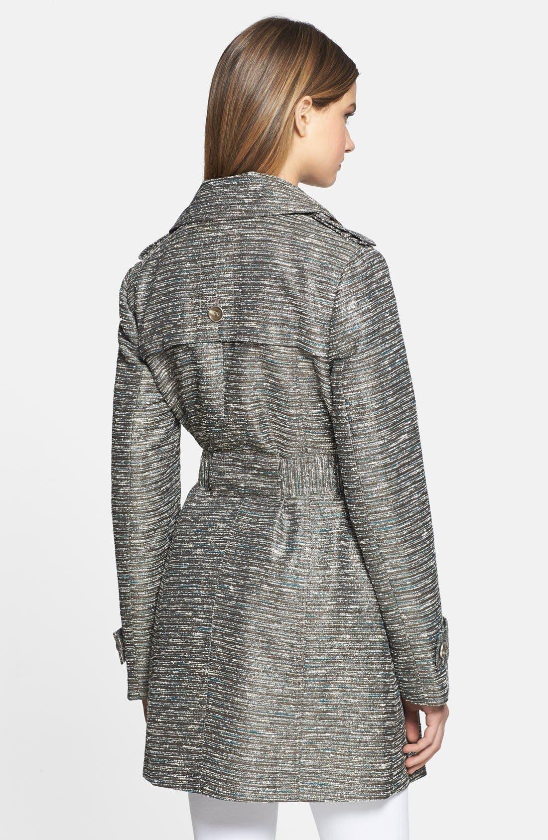 Alternate Image 2  - Kenneth Cole New York Metallic Tweed Trench Coat