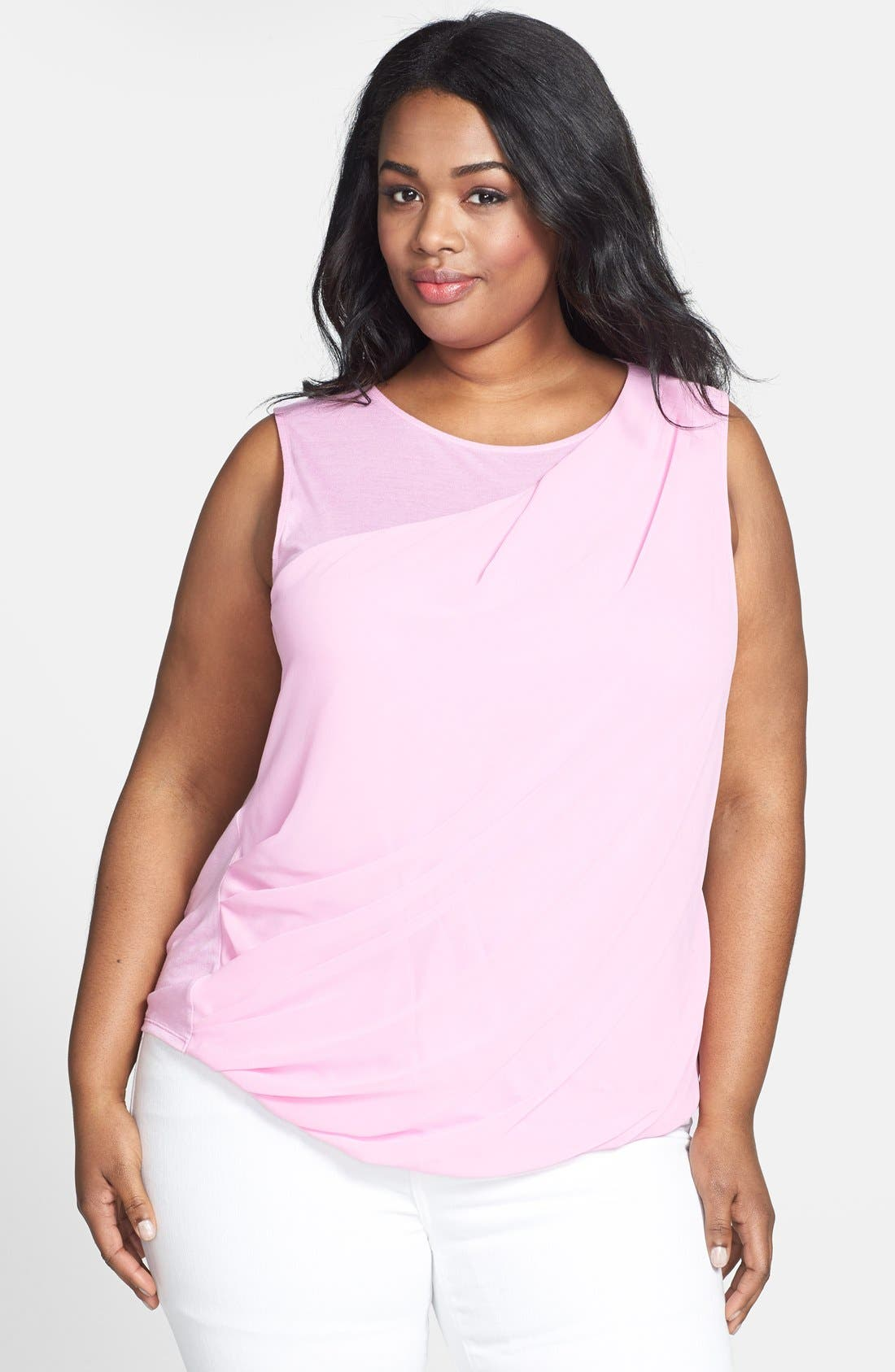 Alternate Image 1 Selected - DKNYC Sleeveless Chiffon Top (Plus Size)