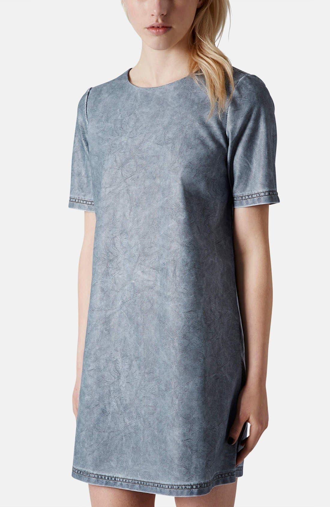 Main Image - Topshop 'Daloma' Faux Leather Shift Dress