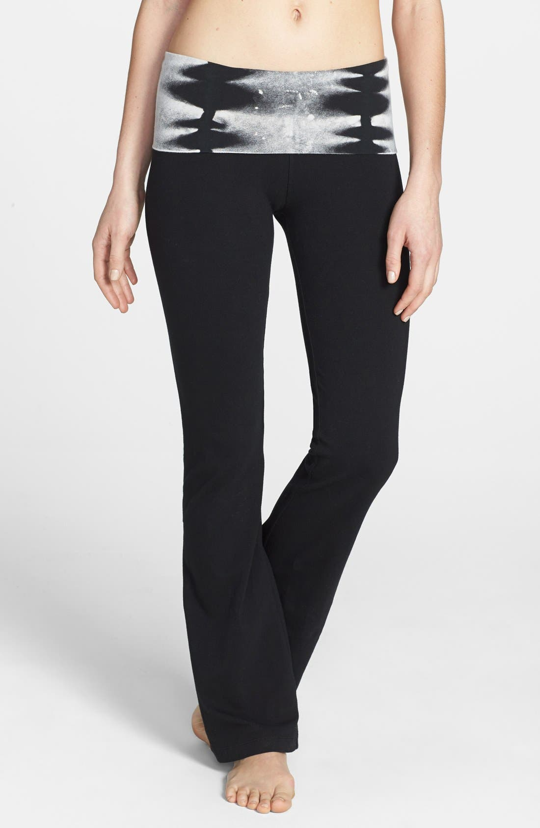 Alternate Image 1 Selected - Hard Tail Bootcut Knit Foldover Pants