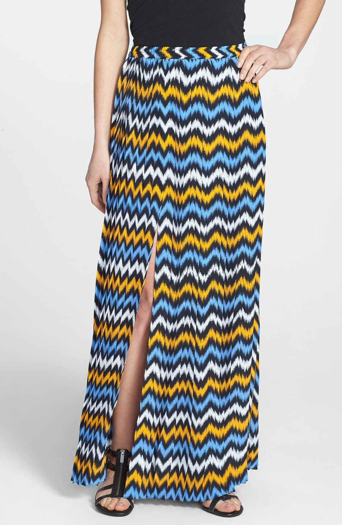 Alternate Image 1 Selected - MICHAEL Michael Kors Ikat Print Pleat Maxi Skirt (Regular & Petite)
