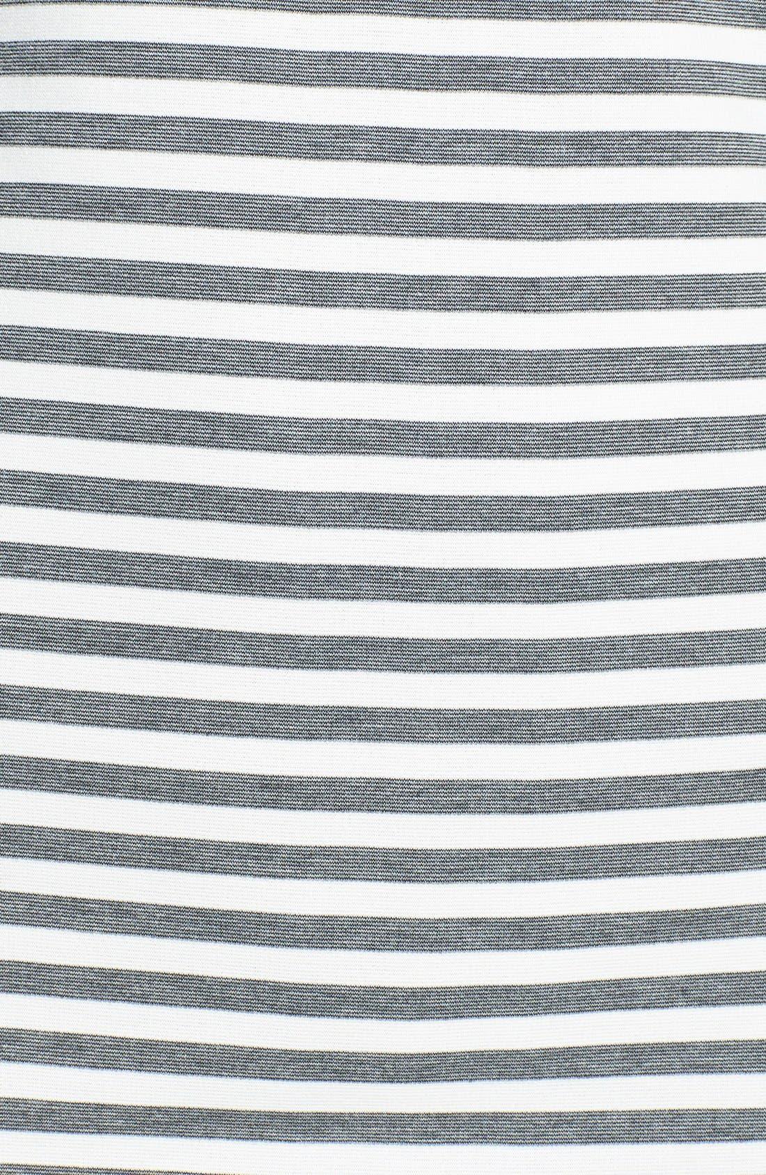 Alternate Image 4  - Eliza J Lace Detail Stripe Ponte Knit Shirttail Dress (Regular & Petite)