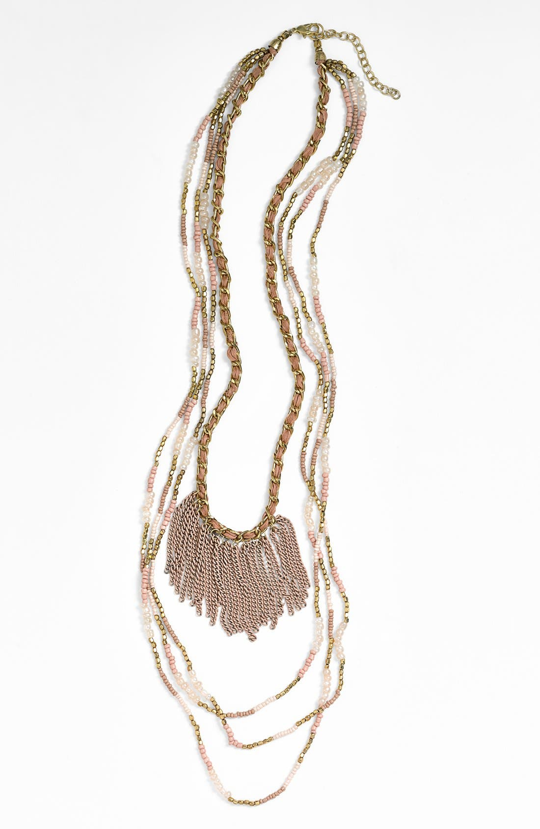 Alternate Image 1 Selected - Stephan & Co. Beaded Fringed Layered Chain Necklace (Juniors)