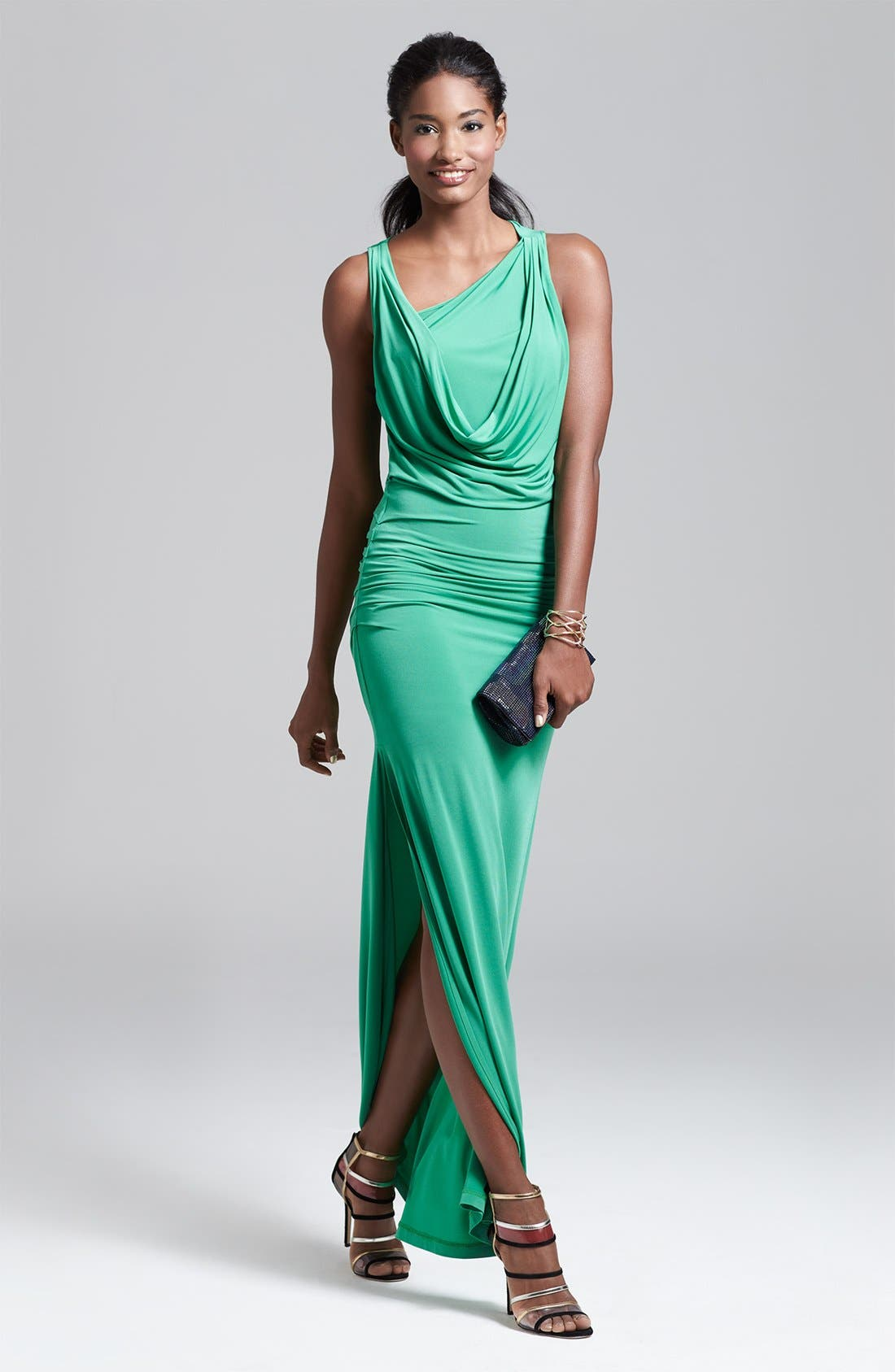Main Image - BCBGMAXAZRIA Jersey Gown & Accessories