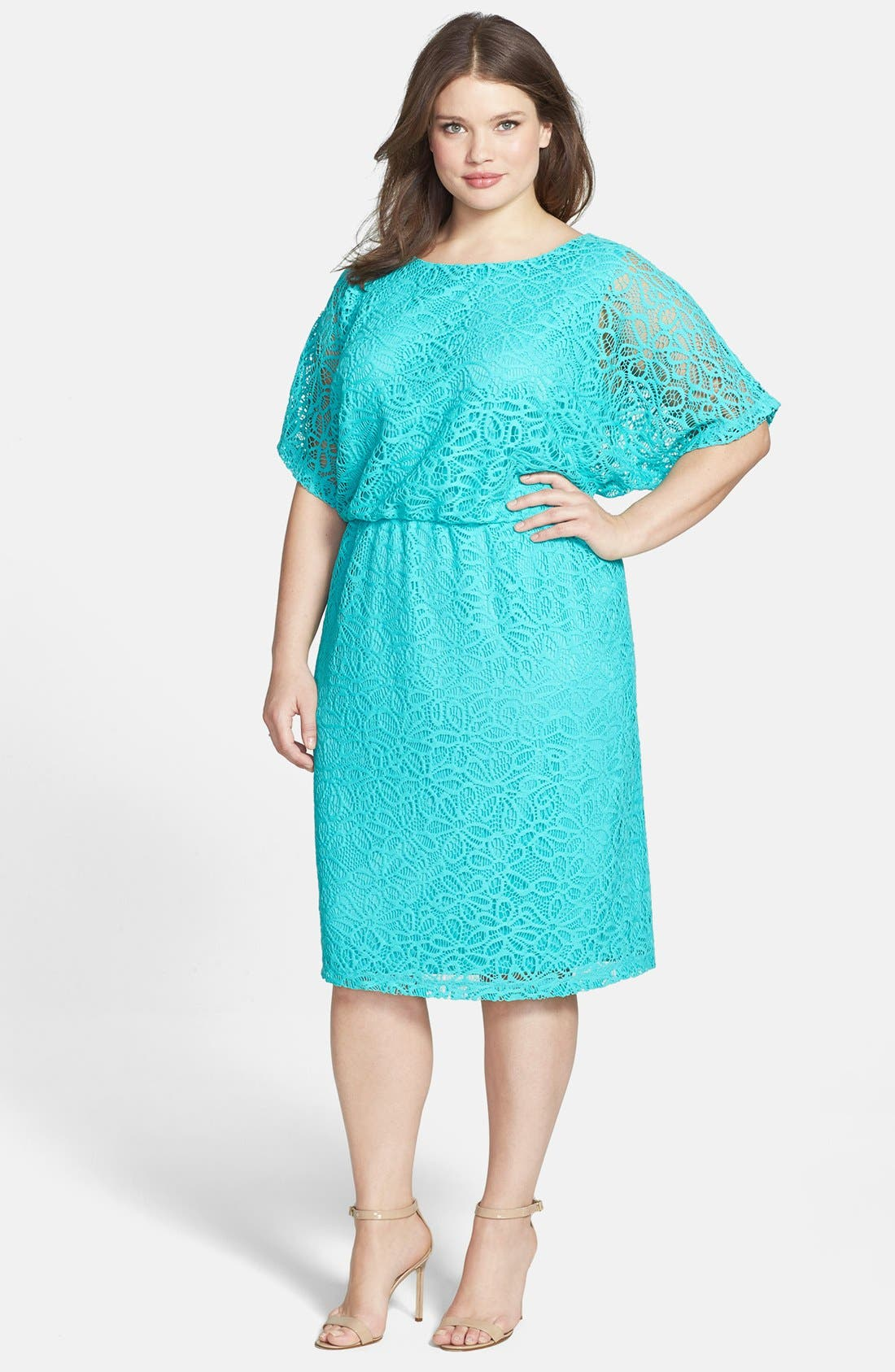 Main Image - London Times 'Kimono' Lace Dress (Plus Size)